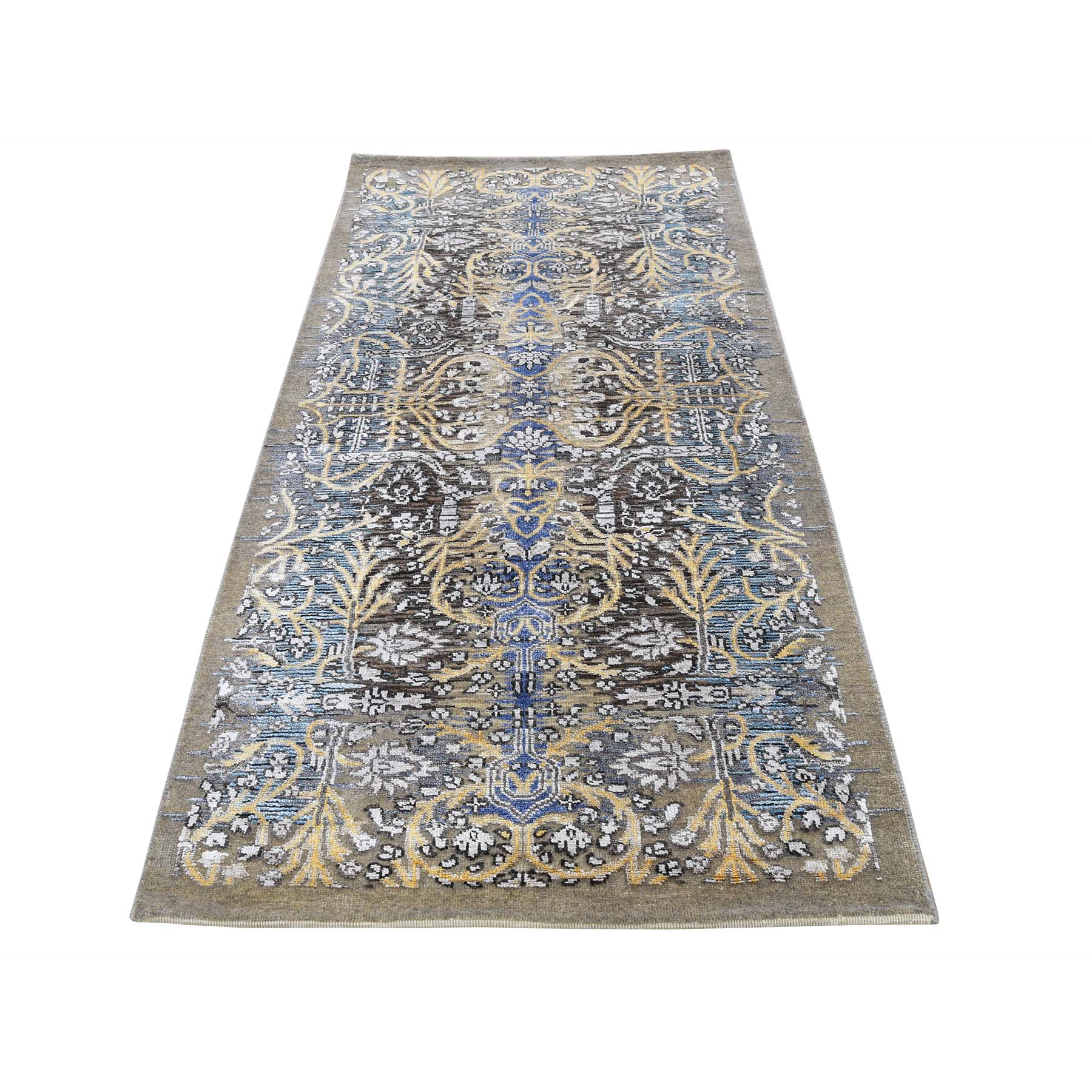 "2'8""X6"" Hand-Knotted Silk With Textured Wool Runner Transitional Sarouk Oriental Rug moad08d0"