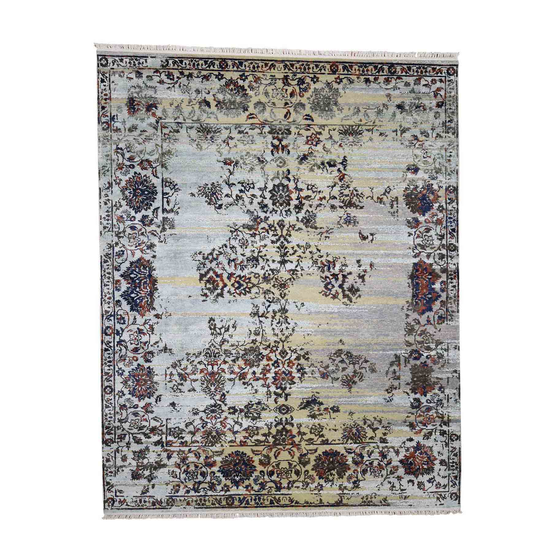 """8'x10'1"""" Silk With Textured Wool Modern Hand-Knotted Transitional Rug"""