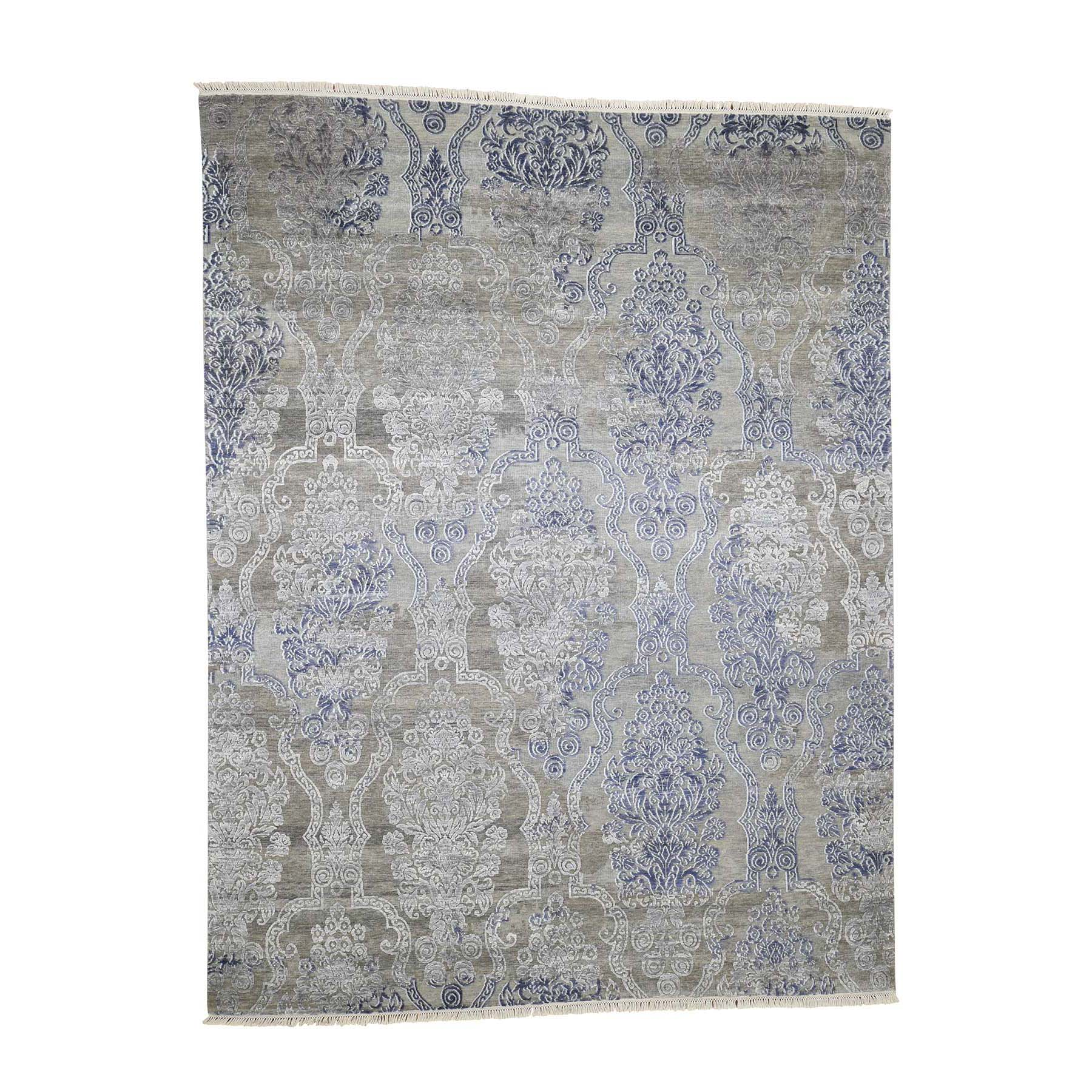 "8'x10'4"" Silk with Textured Wool Hand-Knotted Transitional Rug"