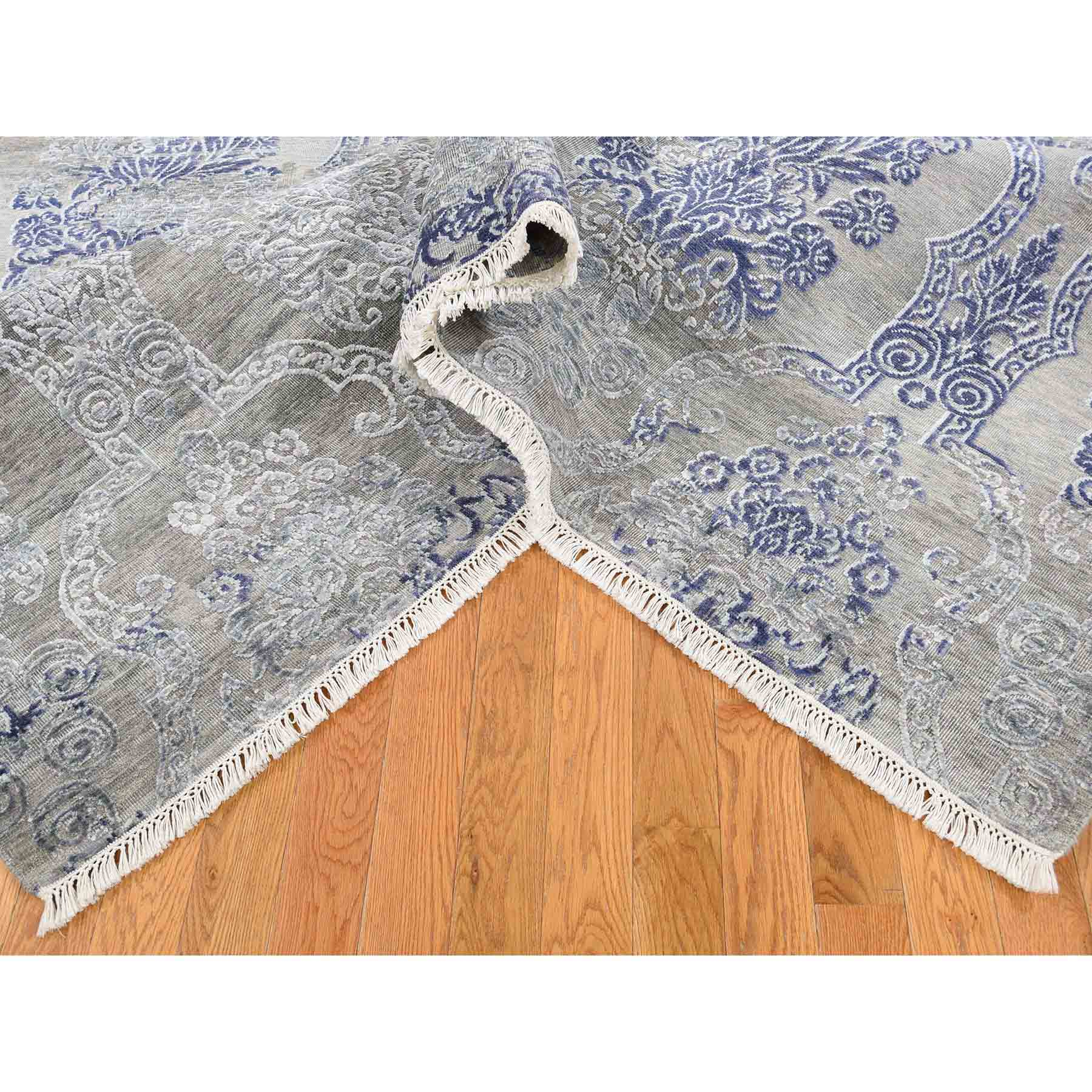 """8'x10'4"""" Silk with Textured Wool Hand-Knotted Transitional Rug"""
