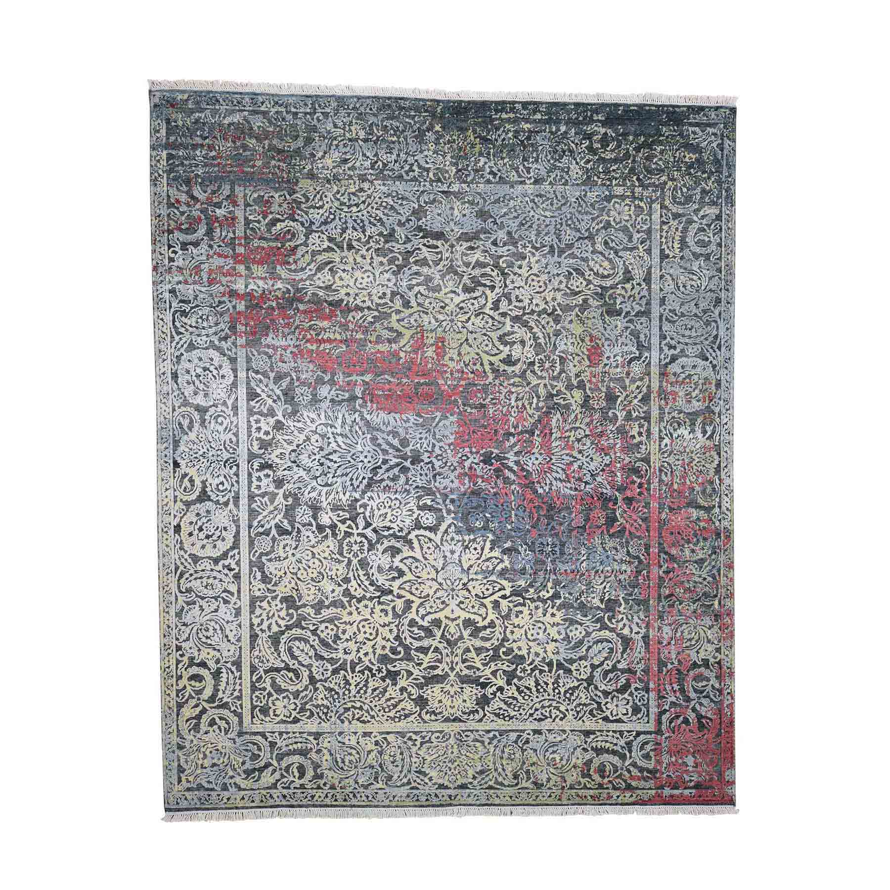 "8'1""x10' Hand-Knotted Broken Design Silk with Textured Wool Transitional Rug"