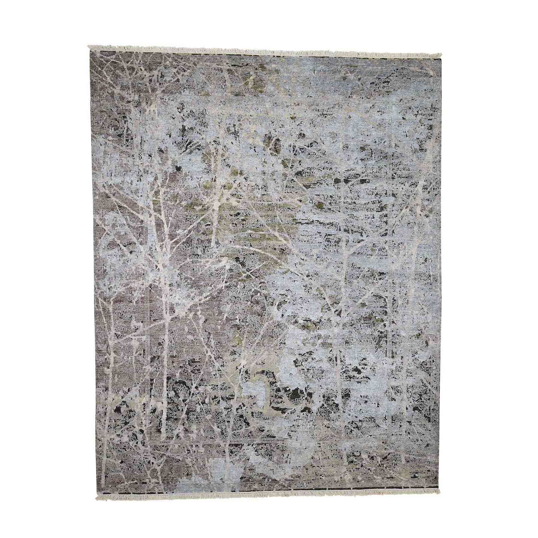 "8'x10'1"" Hand-Knotted Silk With Textured Wool Transitional Rug"