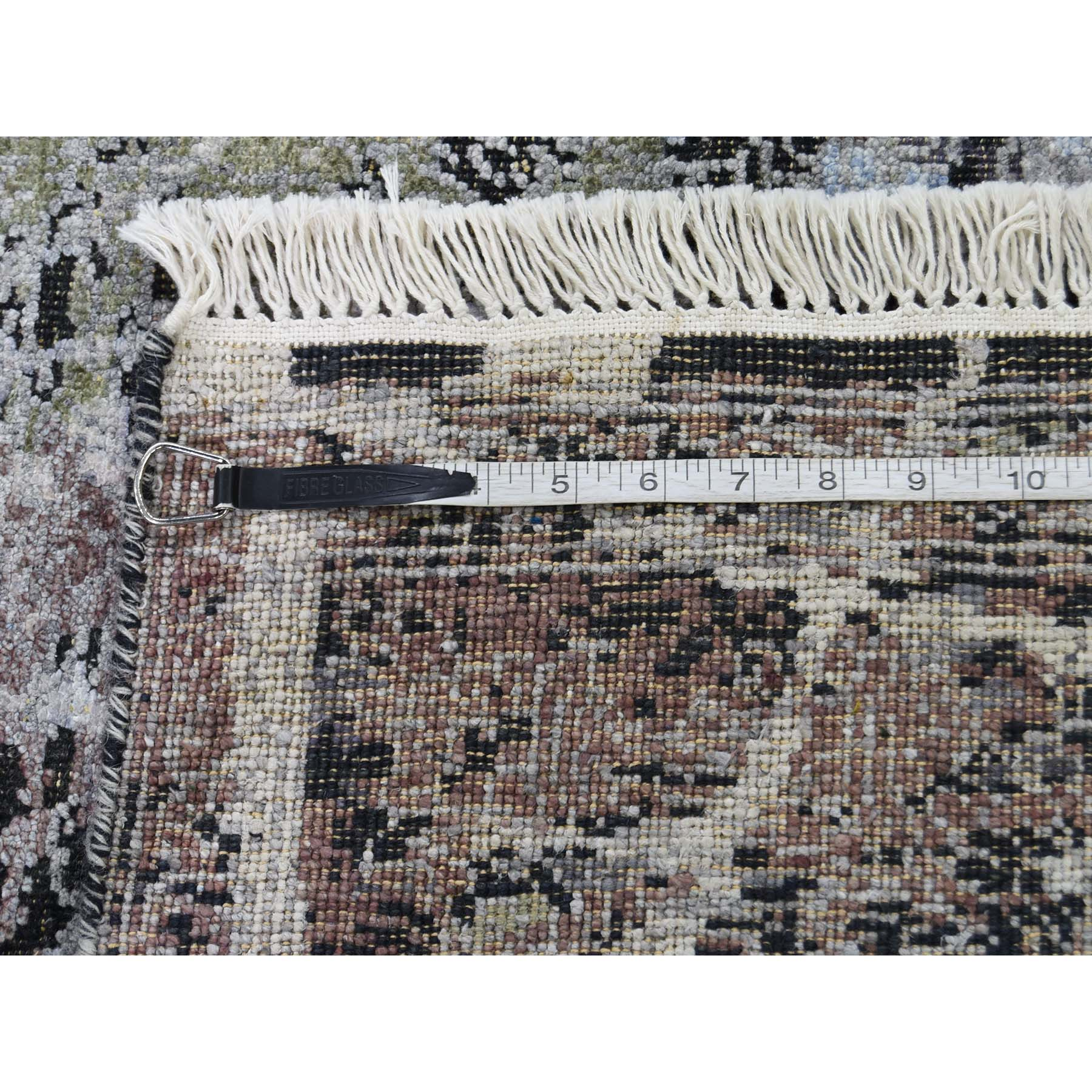 8-x10-1  Hand-Knotted Silk With Oxidized Wool Transitional Rug