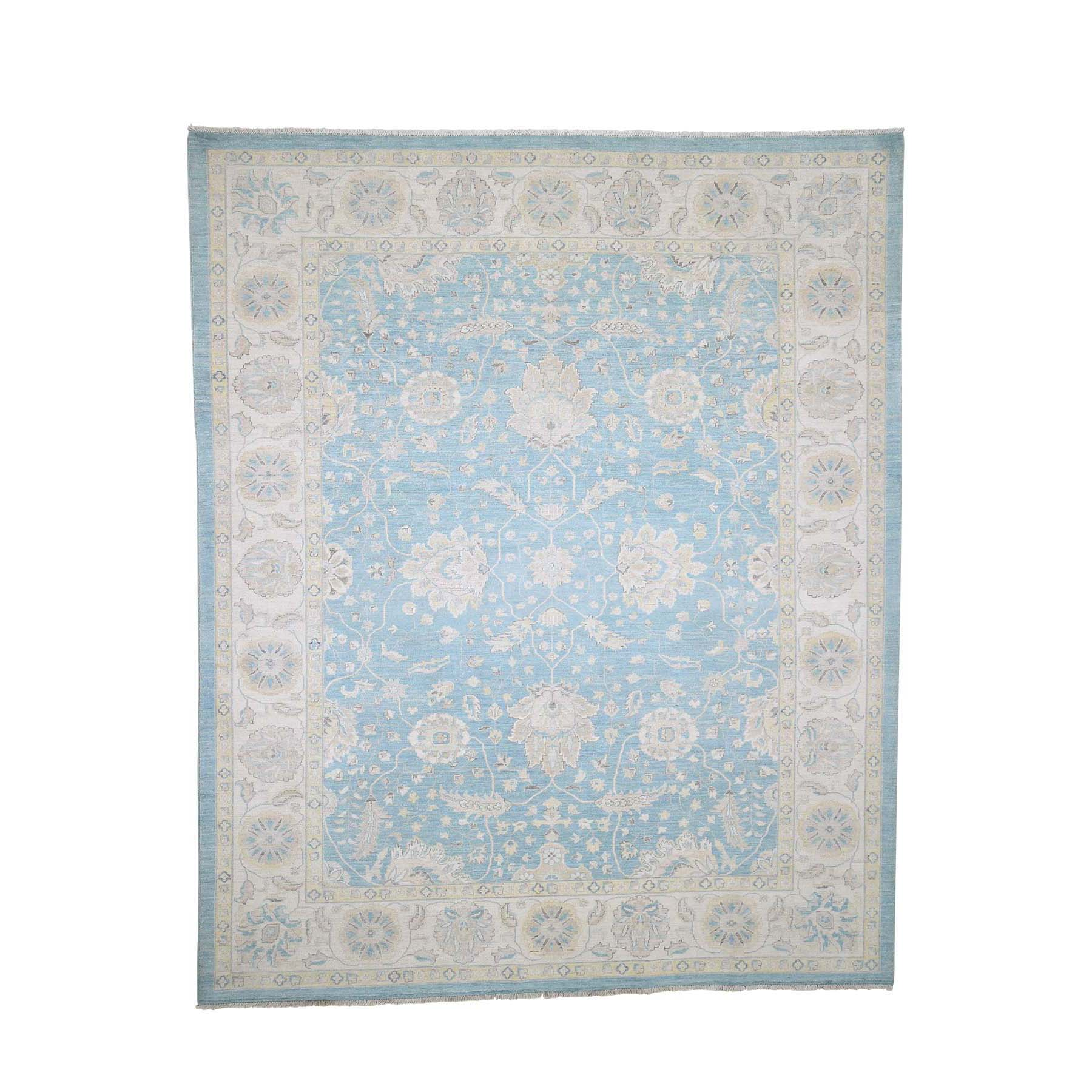 "8'X9'9"" Peshawar With Oushak Design Sky Blue Hand-Knotted Oriental Rug moad08e9"