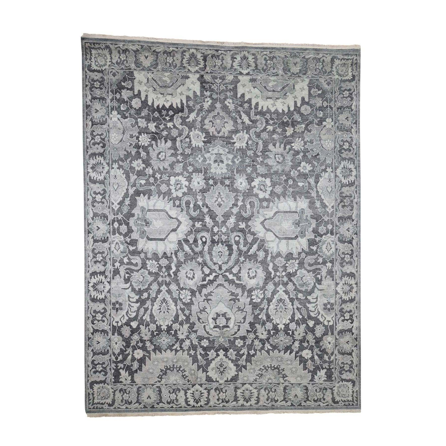 "7'10""X10'4"" Hand-Knotted Oushak Influence Silk With Oxidized Wool Oriental Rug moad0860"