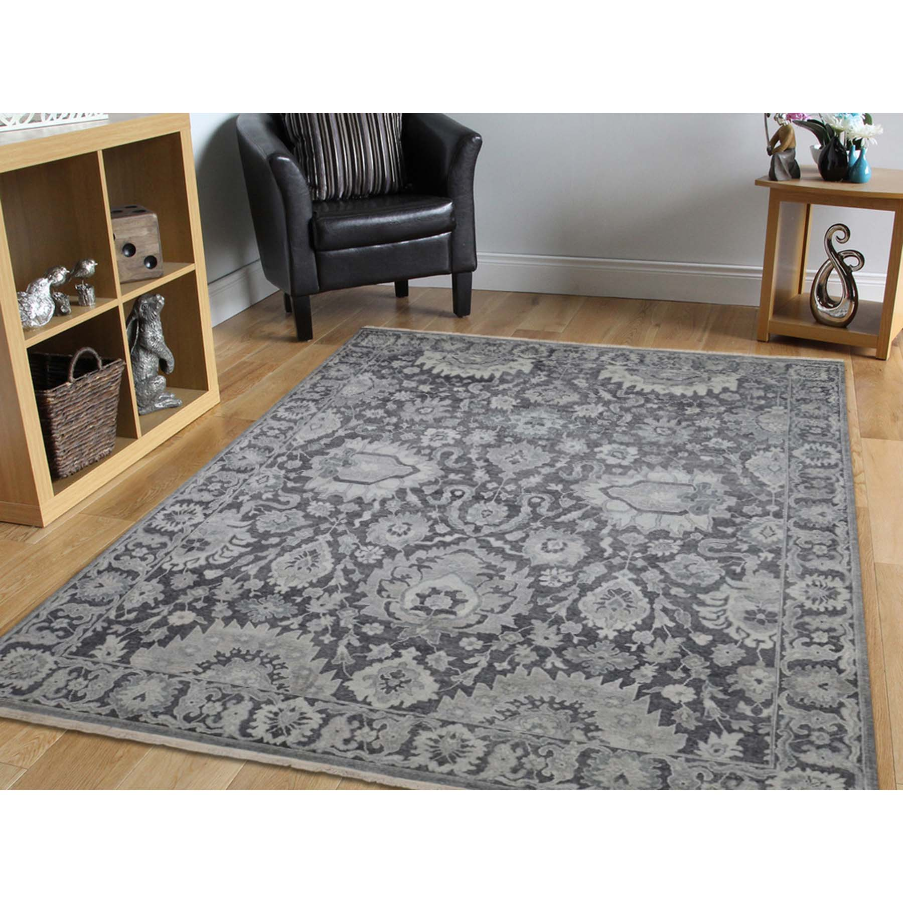 7-10 x10-4  Hand-Knotted Oushak Influence Silk with Textured Wool Oriental Rug