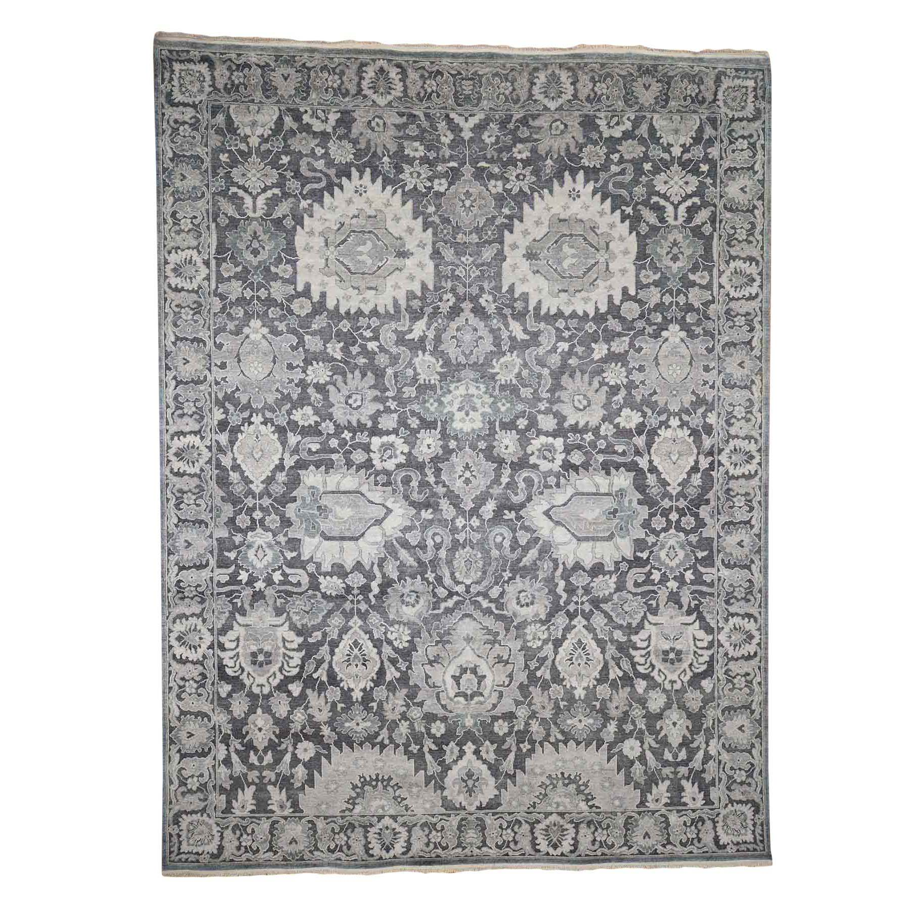 "8'10""x12' Hand-Knotted Oushak Influence Silk with Textured Wool Oriental Rug"