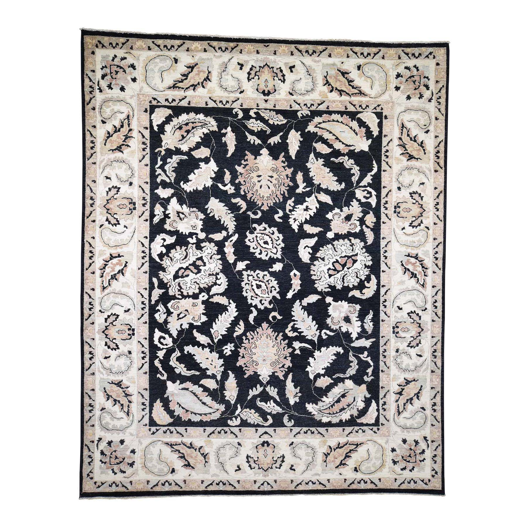 "8'1""X10'1"" Vegetable Dyes Peshawar Black Pure Wool Hand-Knotted Oriental Rug moad090e"