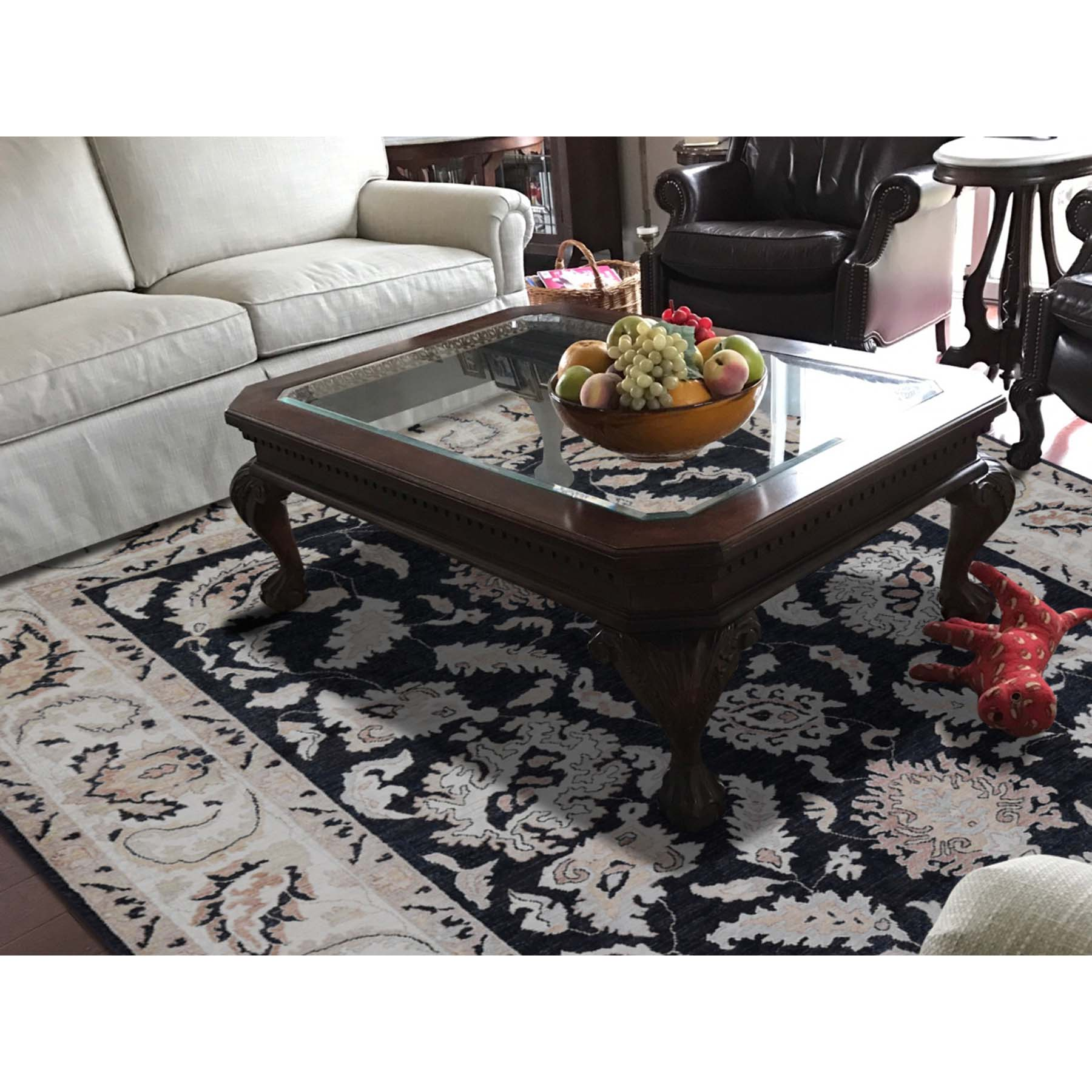 "8'1""x10'1"" Vegetable Dyes Peshawar Black Pure Wool Hand-Knotted Oriental Rug"