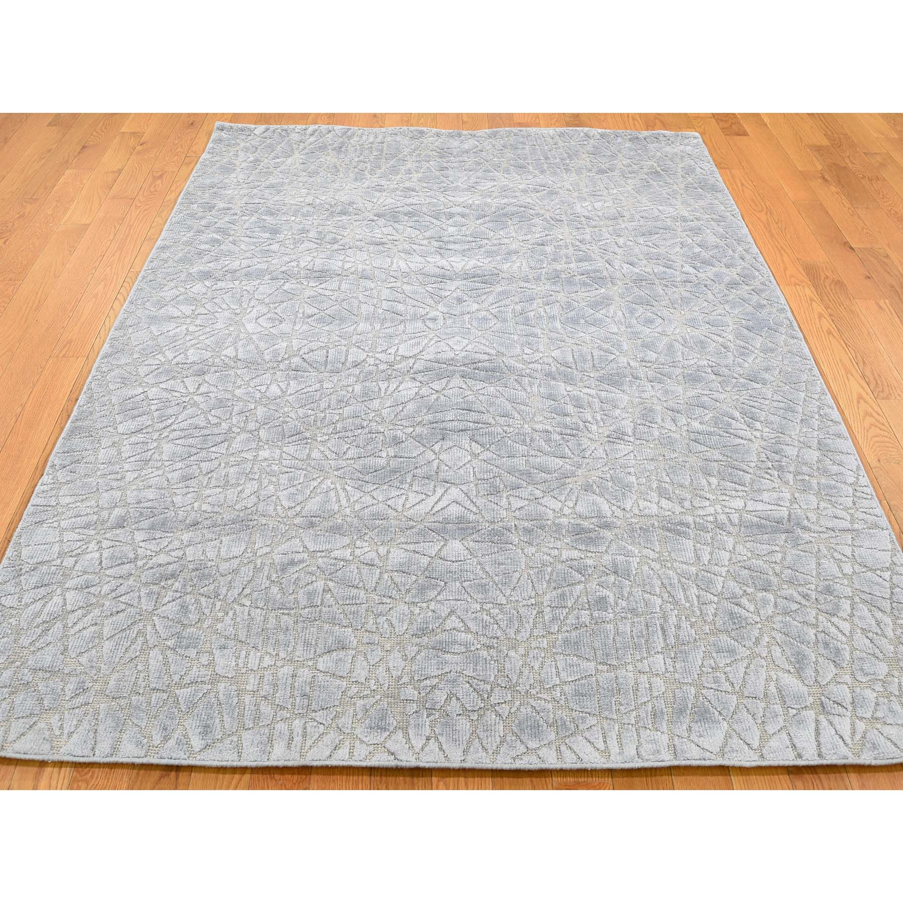5-1 x7- Flat Pile with Raised Silk Hand Knotted Tone on Tone Oriental Runner Rug
