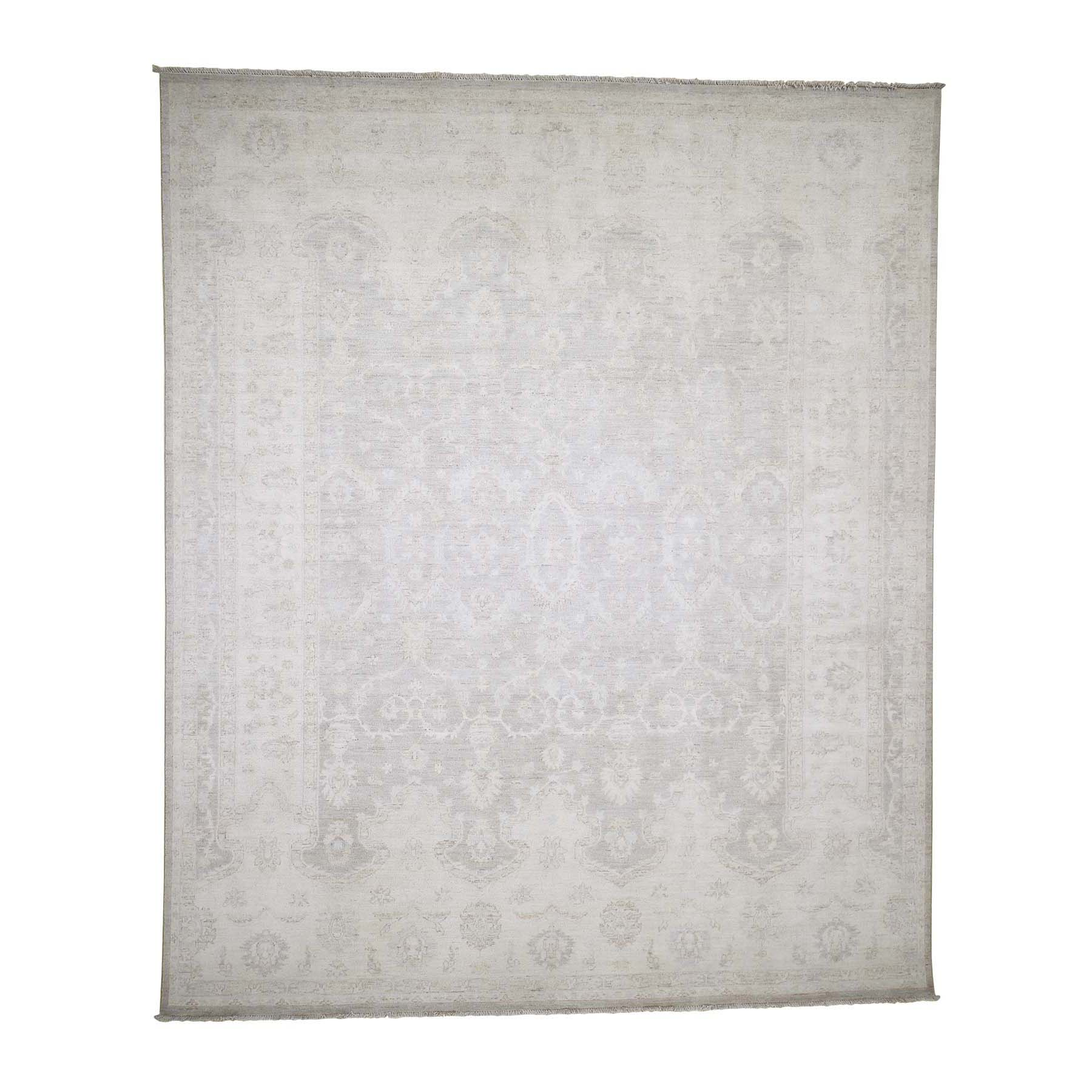 "8'3""X9'9"" White Wash Peshawar Hand-Knotted Oriental Rug moad09d6"