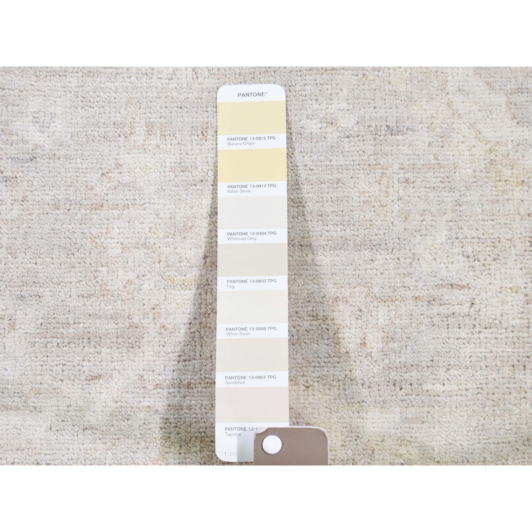 8-3 x9-9  White Wash Peshawar Hand-Knotted Oriental Rug