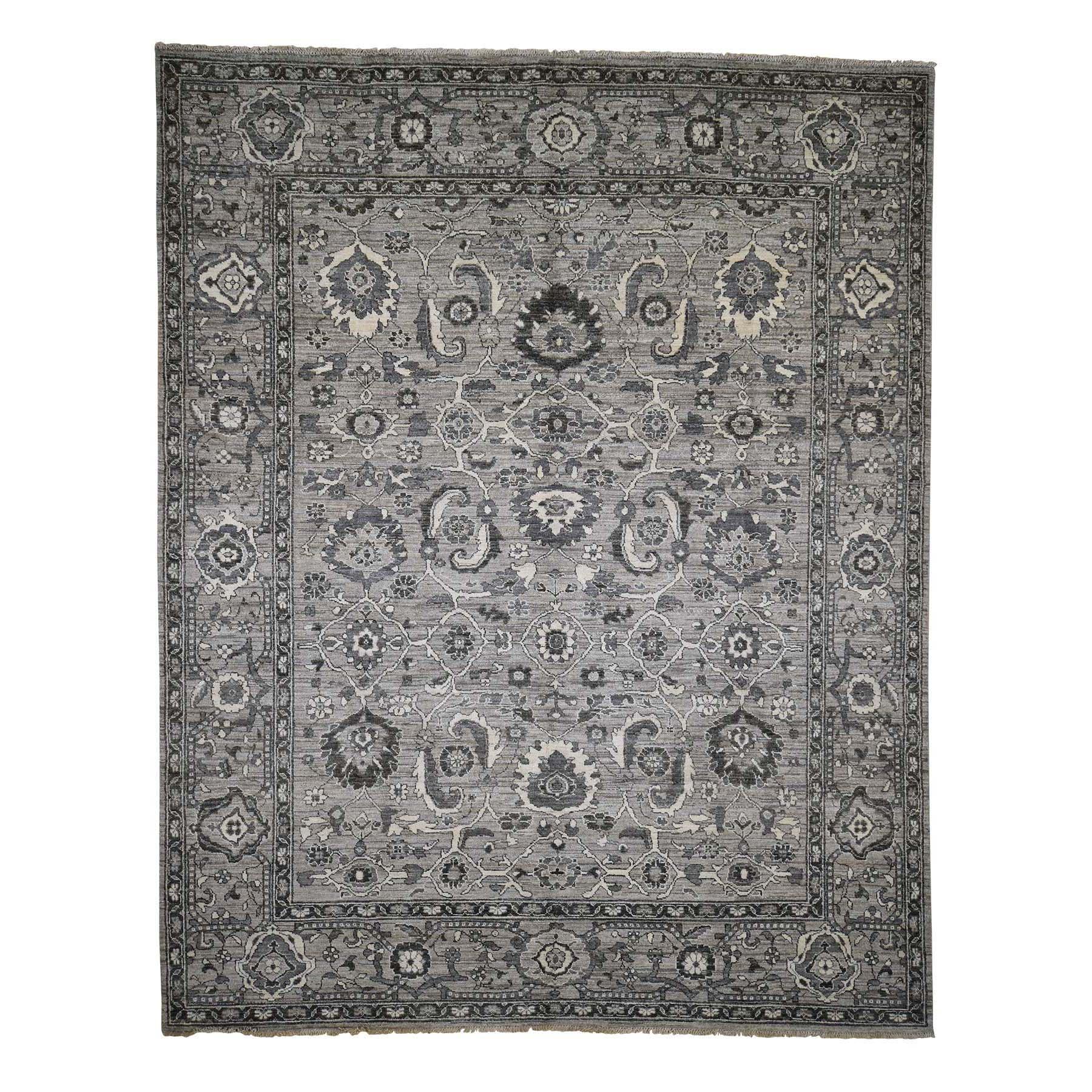 "8'1""X10'3"" Natural Colors Mahal Design Grey Peshawar Hand-Knotted Oriental Rug moad09ee"
