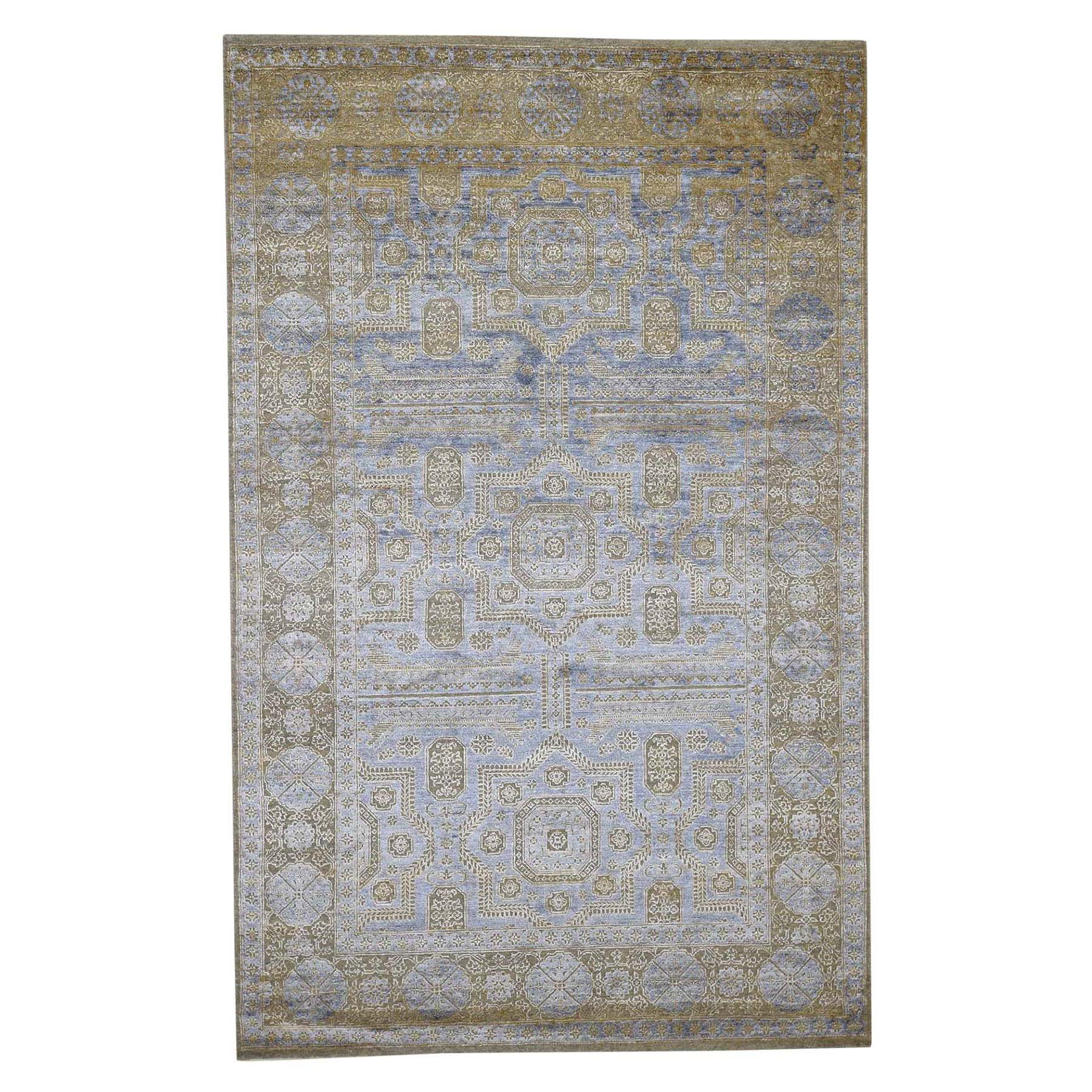 "5'X8'2"" Silk With Oxidized Wool Mamluk Design Oriental Rug moad0966"