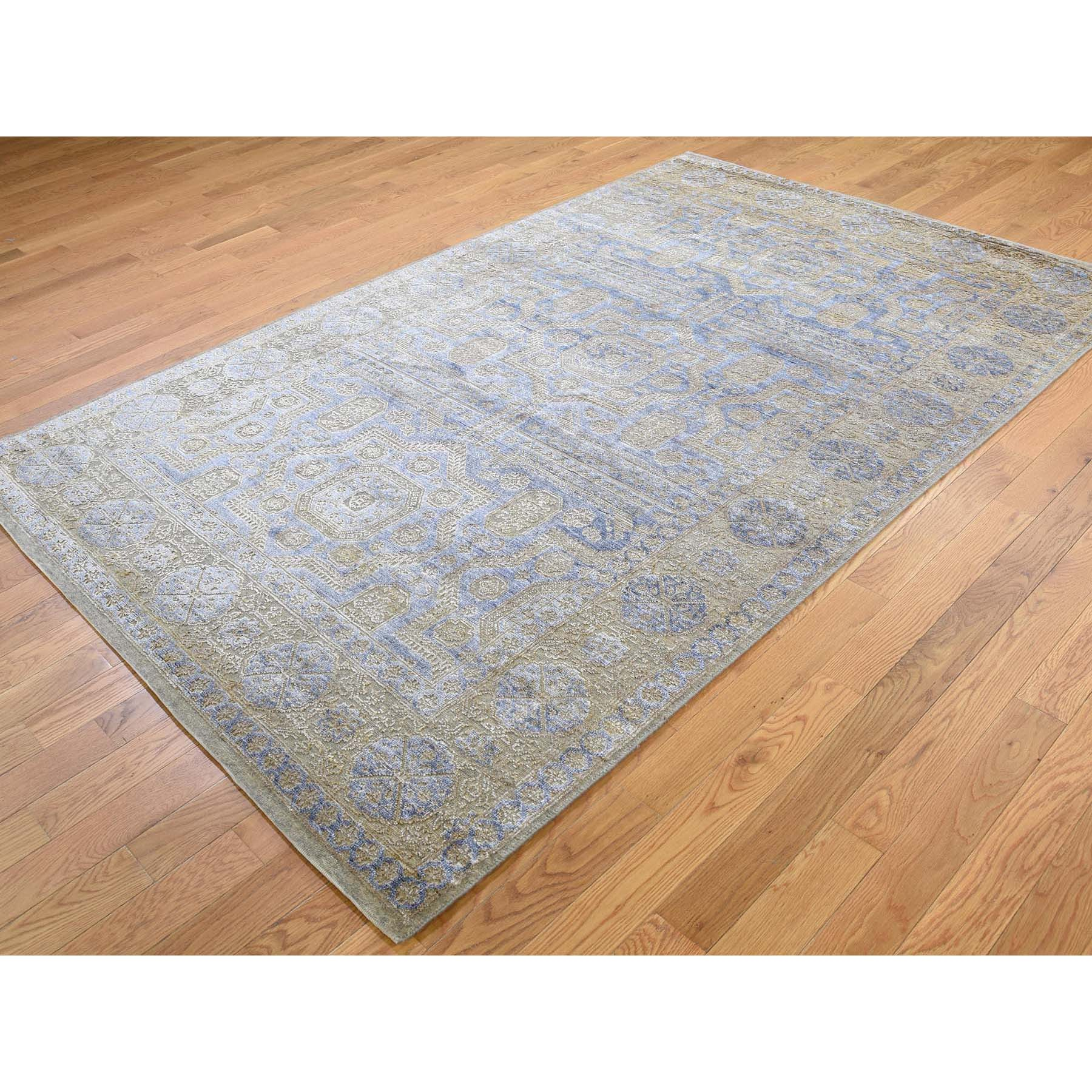 5-x8-2  Silk with Oxidized Wool Mamluk Design Oriental Rug