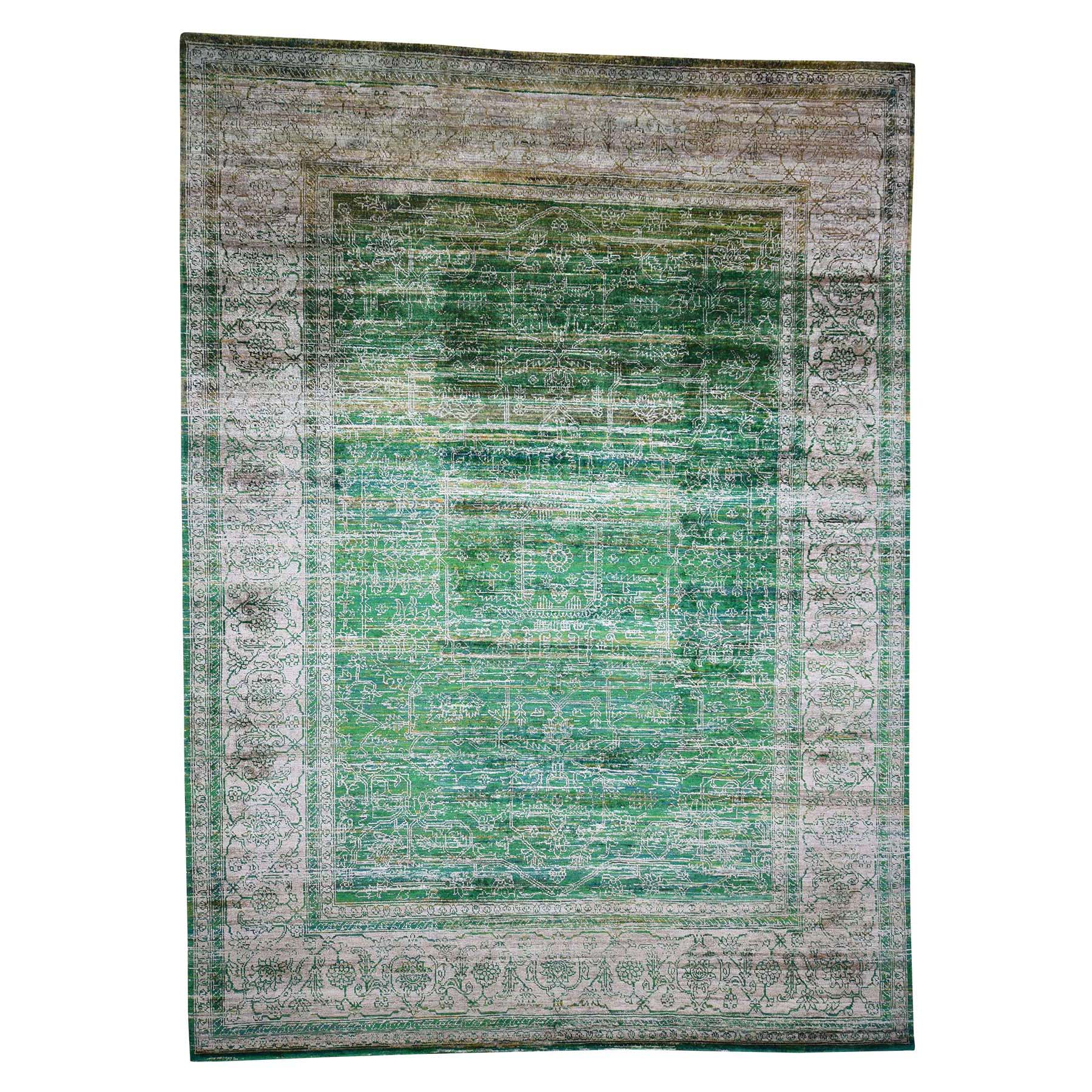 "9'12'3"" Hand Knotted Sari Silk With Oxidized Wool Heriz Design Oriental Rug moad098c"