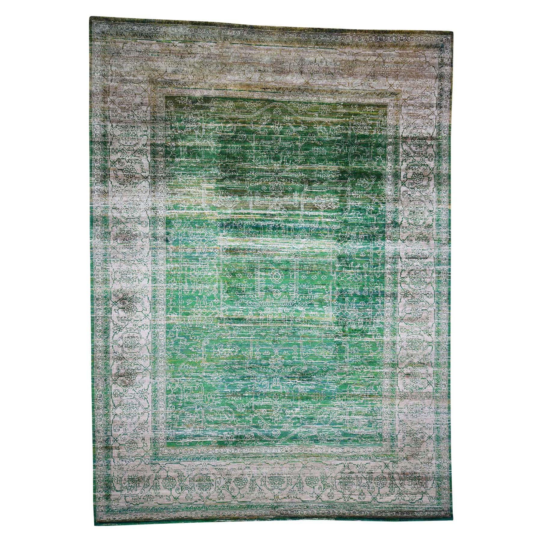 "9'12'3"" Hand Knotted Sari Silk With Textured Wool Heriz Design Oriental Rug"