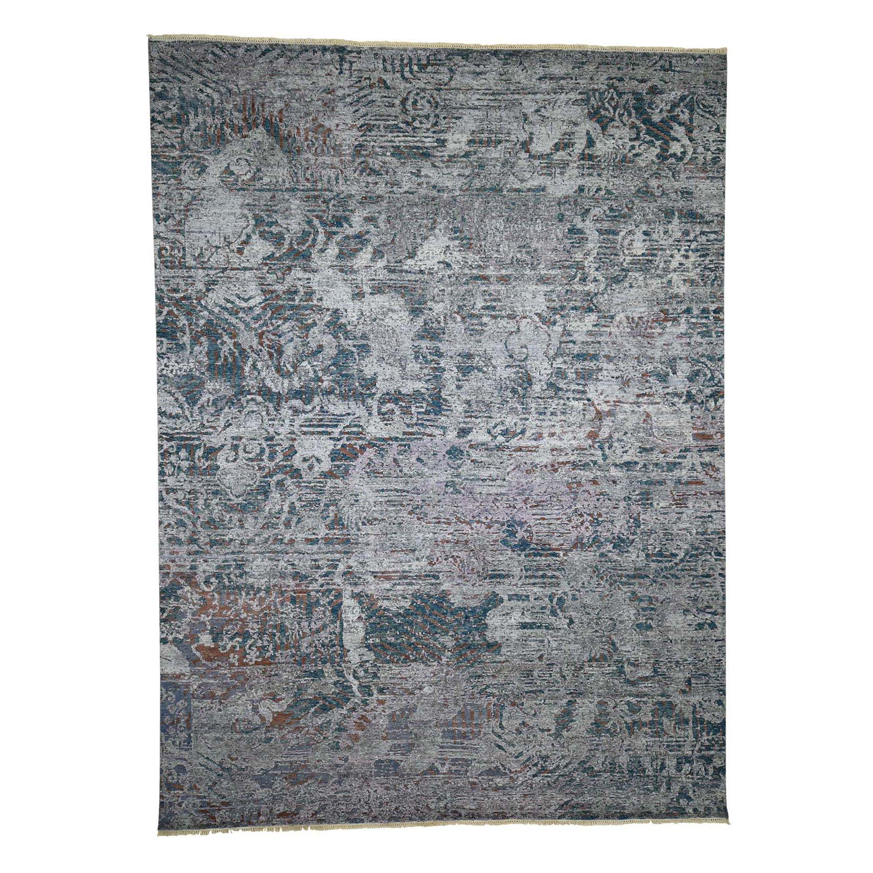 "8'9""X11'10"" Hand-Knotted Abstract Design Silk With Oxidized Wool Oriental Rug moad099b"