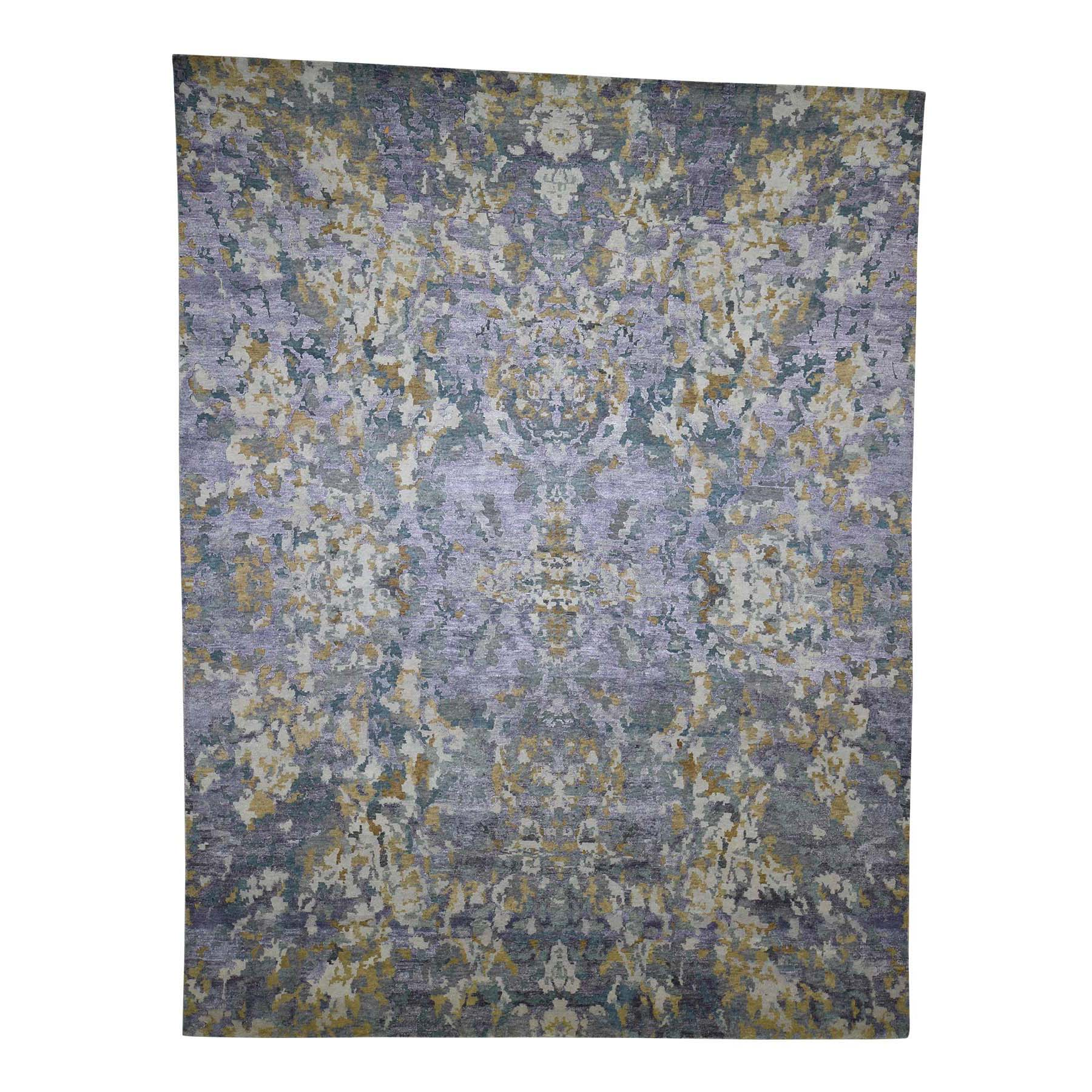 "8'10""X11'7"" Abstract Design Wool And Silk Hand-Knotted Oriental Rug moada0e7"