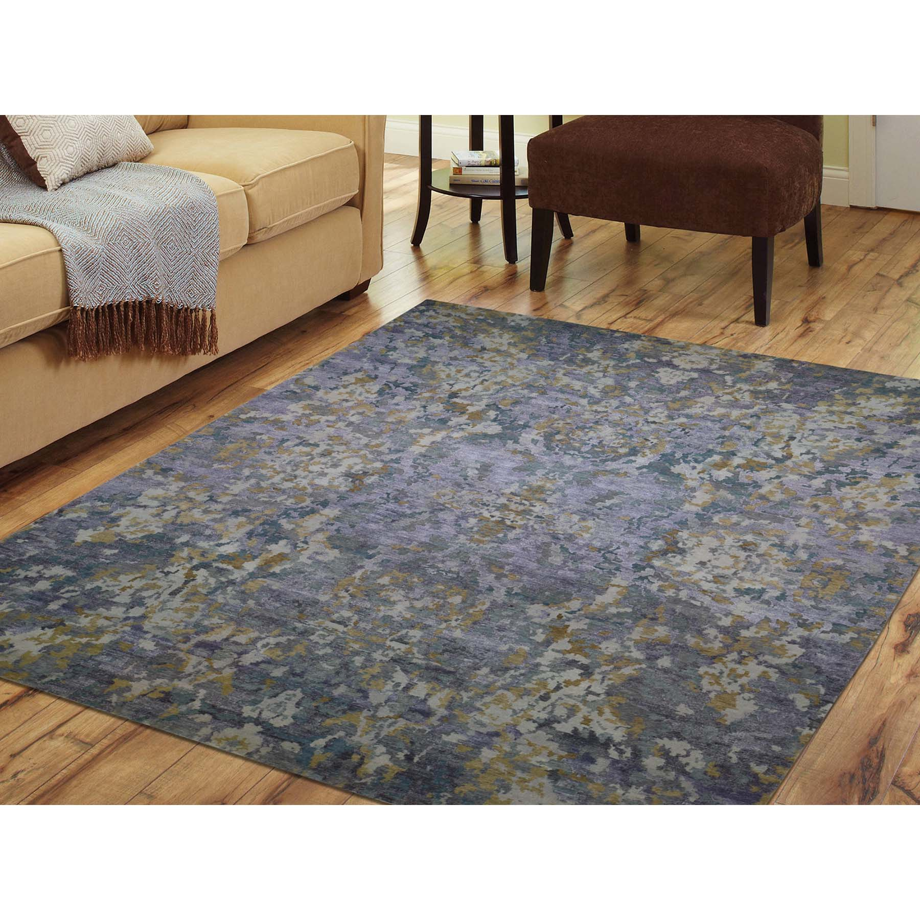 8-10 x11-7  Abstract Design Wool And Silk Hand-Knotted Oriental Rug