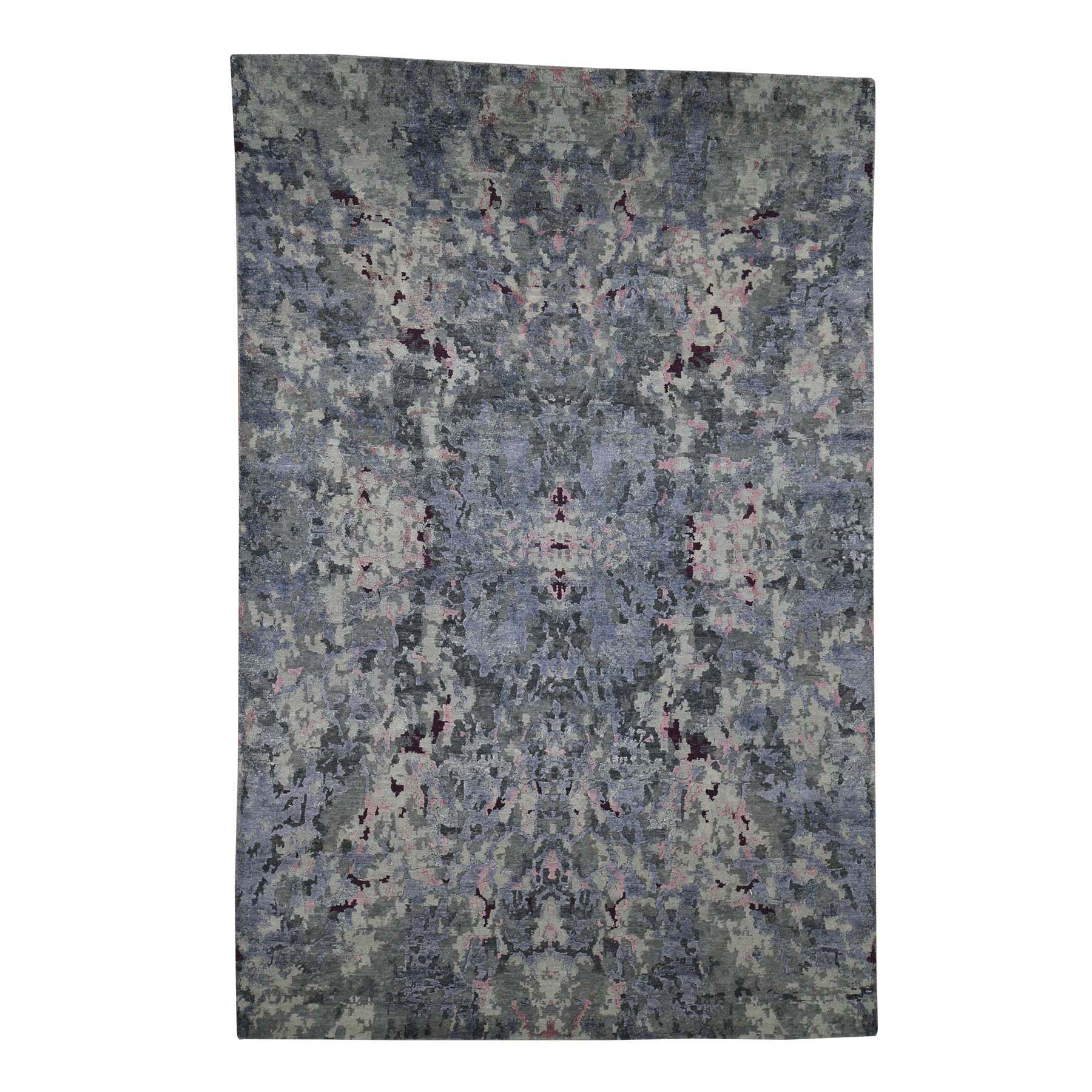 "6'X8'10"" Abstract Design Wool And Silk Hand-Knotted Oriental Rug moada060"