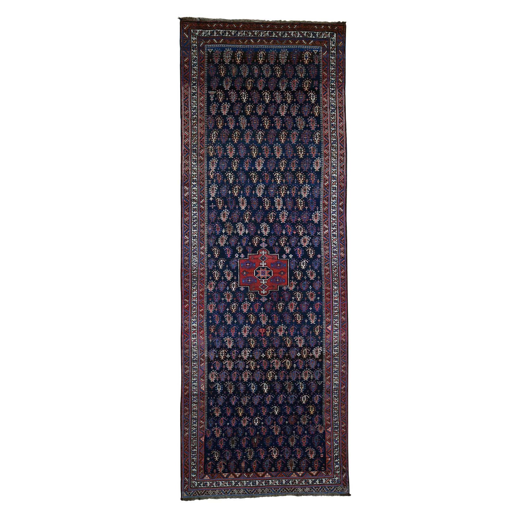 "5'2""X14'5"" Hand-Knotted Antique Kurdish Bijar Full Pile Mint Cond Wide Runner Rug moada06a"