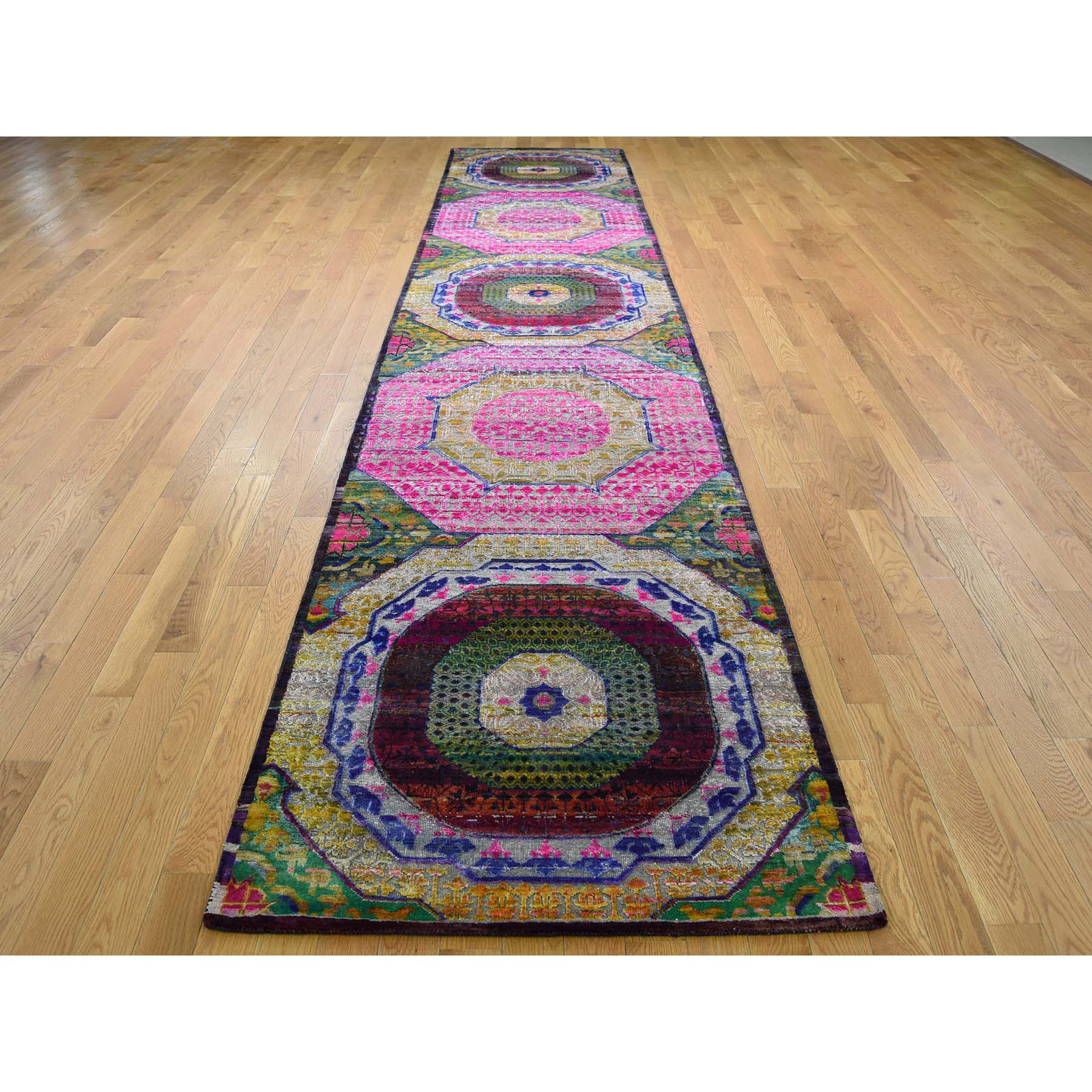 3-1 x15-4  Sari Silk with Oxidized Wool Mamluk Design XL Runner Oriental Rug