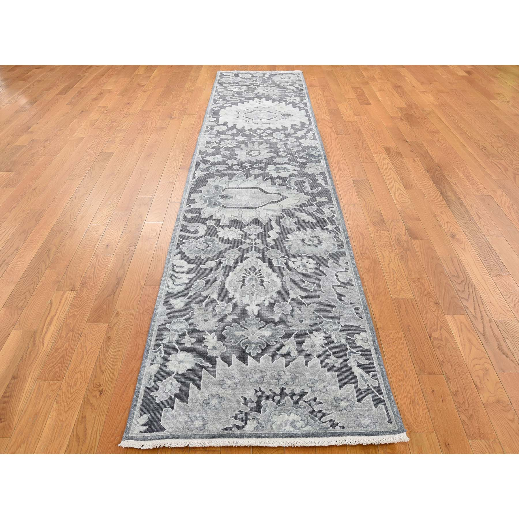 2-6 x11-10  Hand-Knotted Oushak Influence Silk with Oxidized Wool Oriental Runner Rug