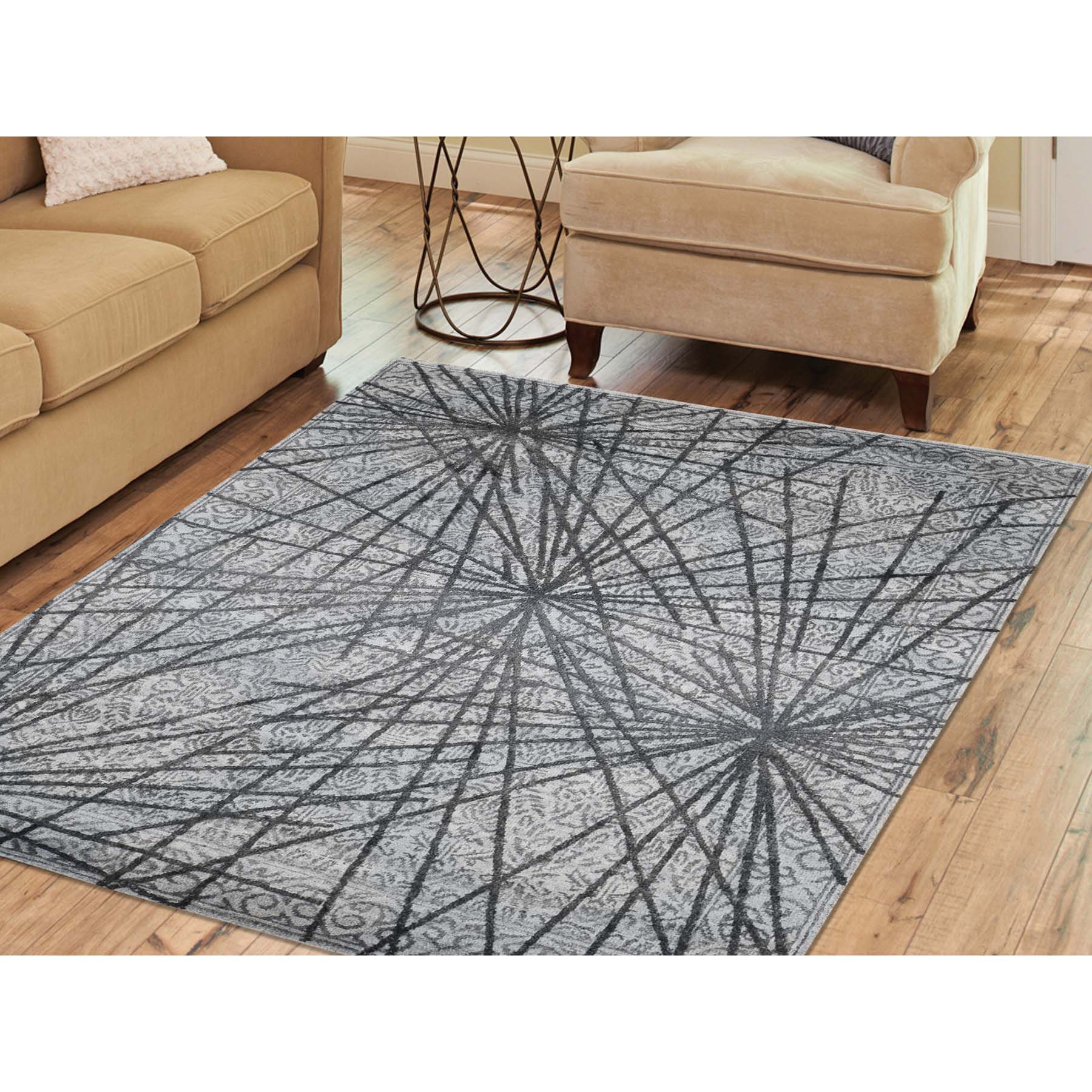 5-6 x7-9  Modern Abstract With Natural Greys Wool And Silk Hand-Knotted Oriental Rug