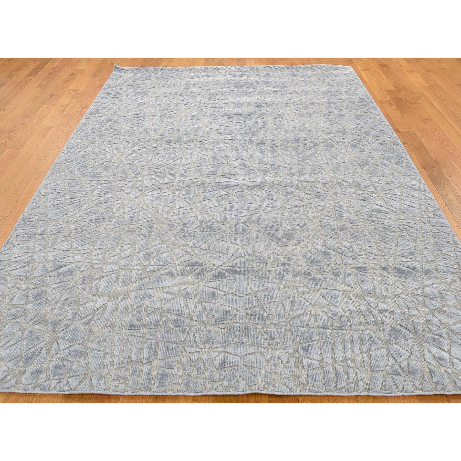 6-x8-10  Flat Pile with Raised Silk Hand Knotted Tone on Tone Oriental Rug