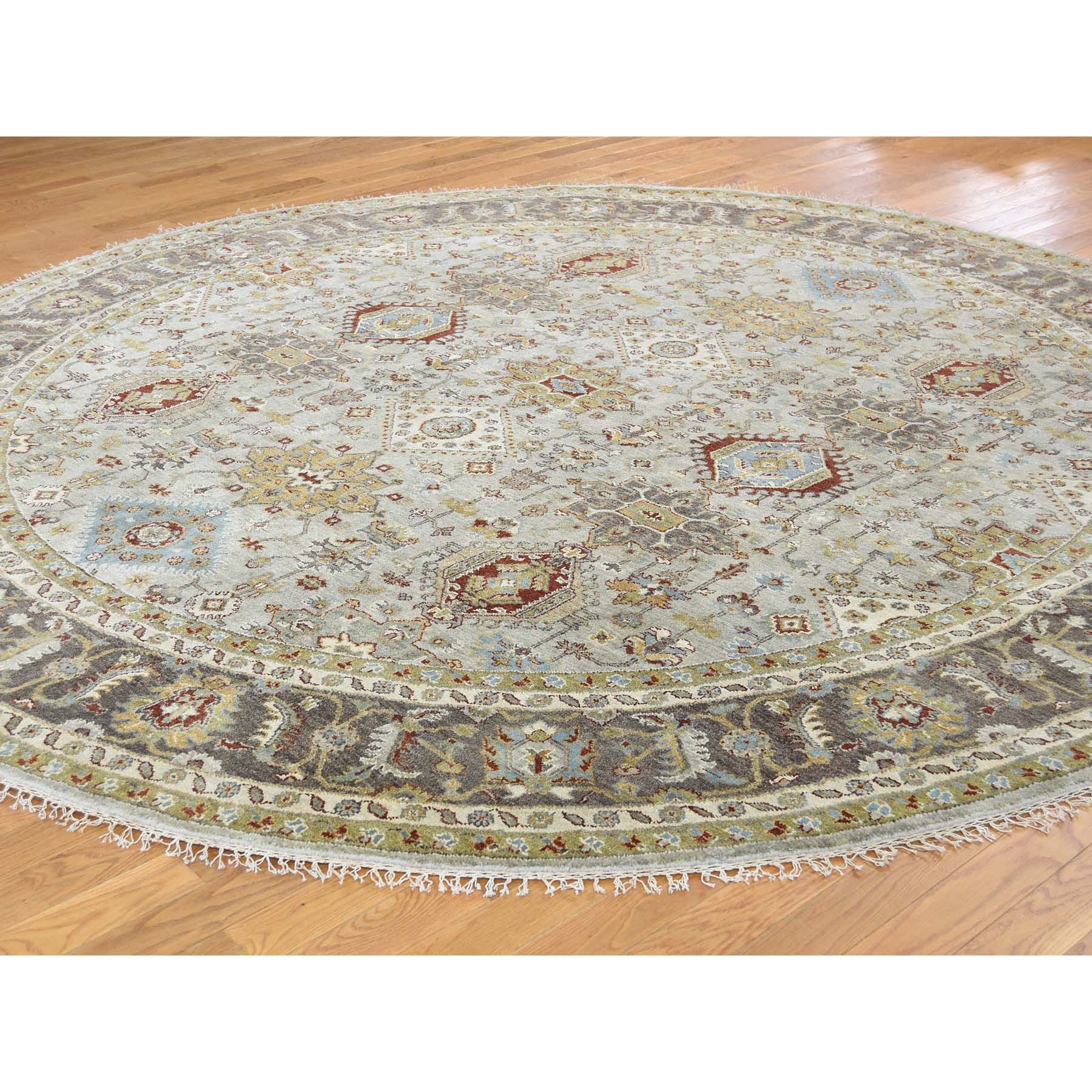 8-x8- Hand-Knotted Silver Karajeh Design Pure Wool Round Oriental Rug
