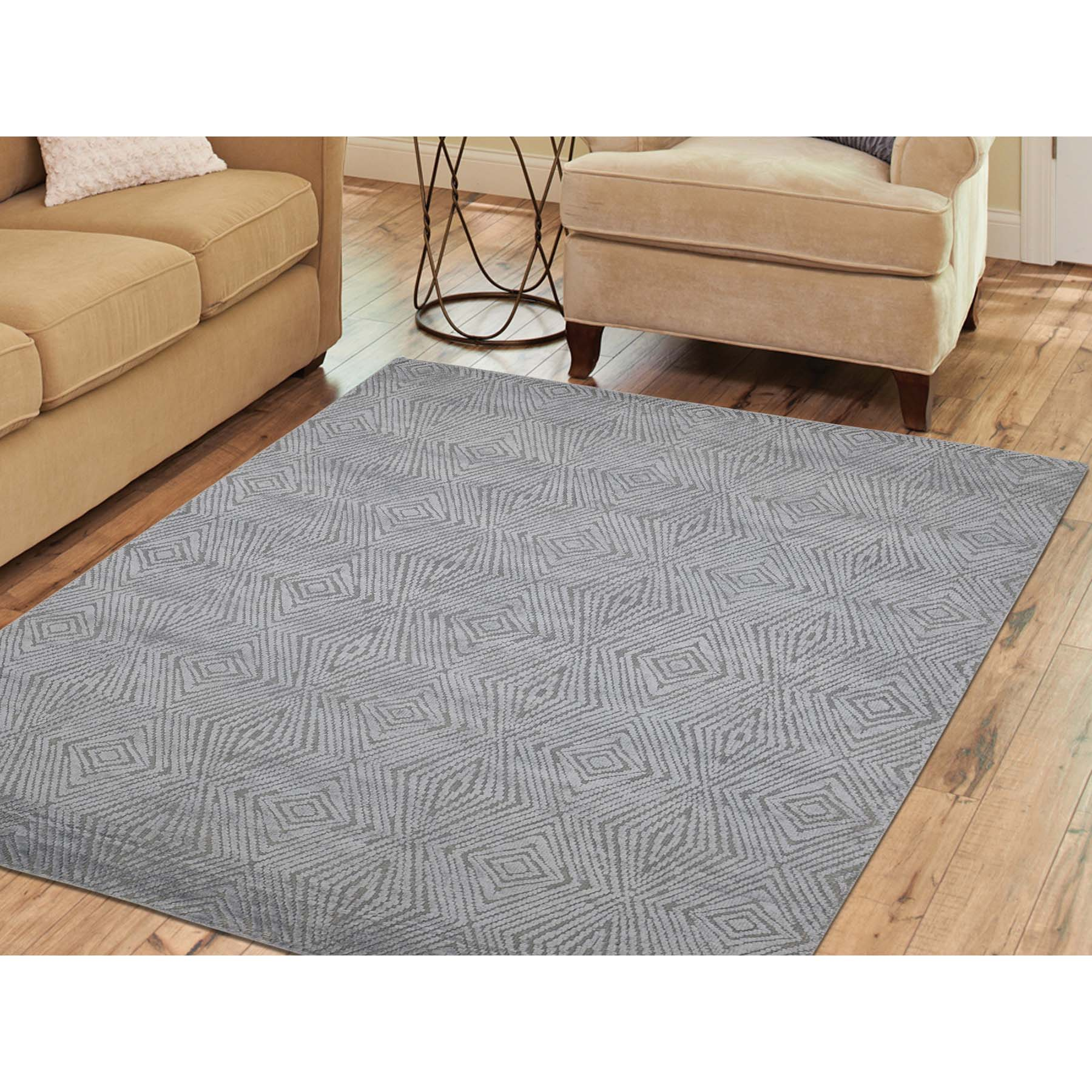5-5 x7-6  Tone On Tone Modern Wool And Silk Hand Knotted Oriental Rug