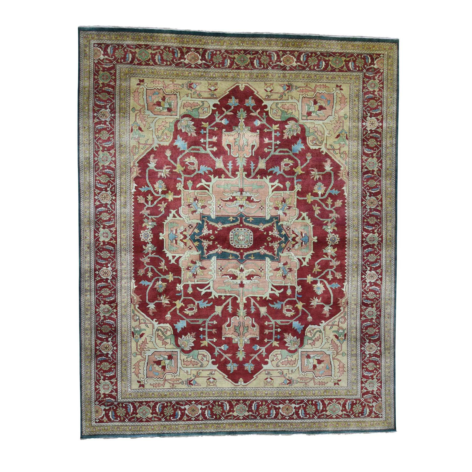 "11'8""X14'7"" Heriz Design Hand-Knotted 100 Percent Wool Oriental Oversize Rug moadaae6"