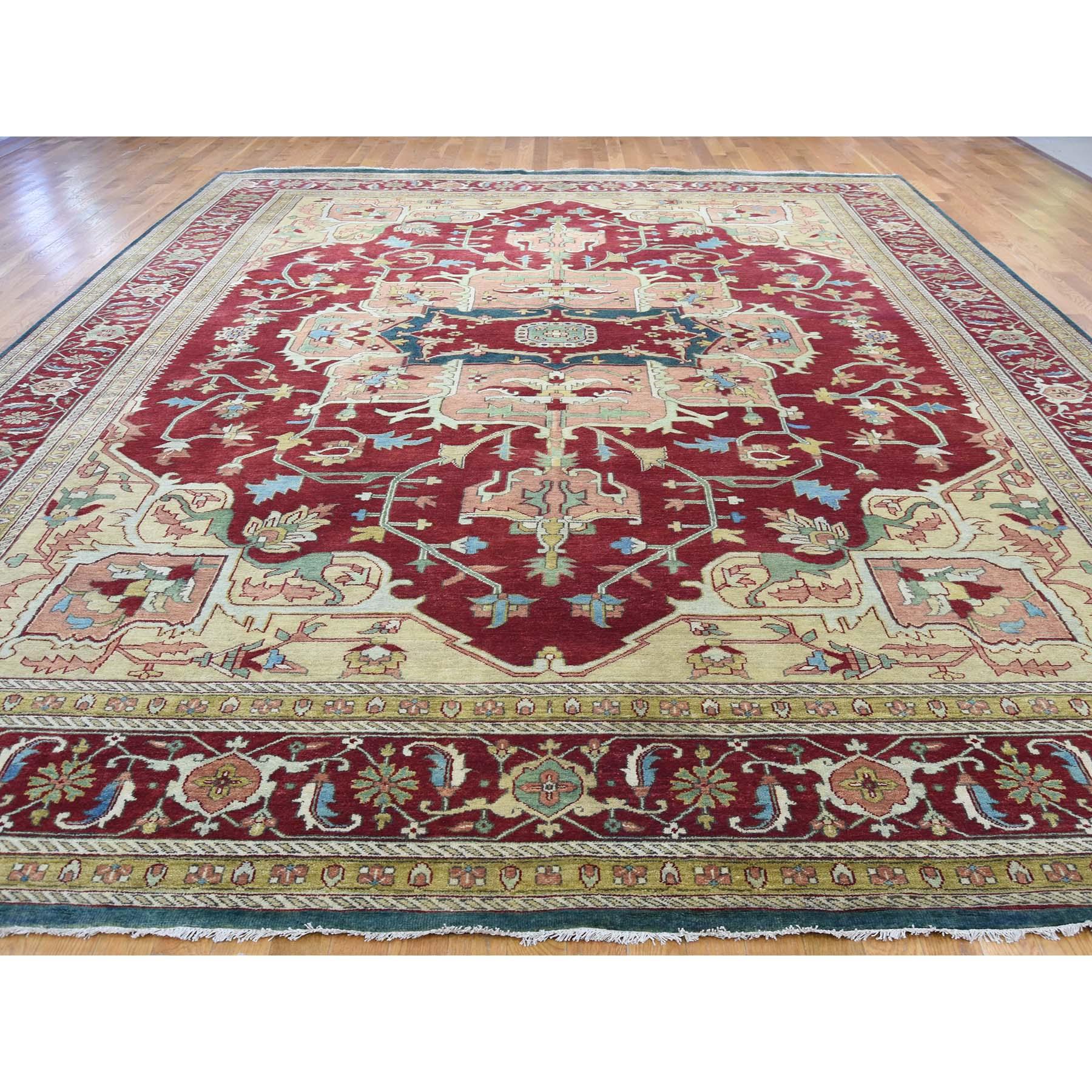 11-8 x14-7  Heriz Design Hand-Knotted 100 Percent Wool Oriental Oversize Rug