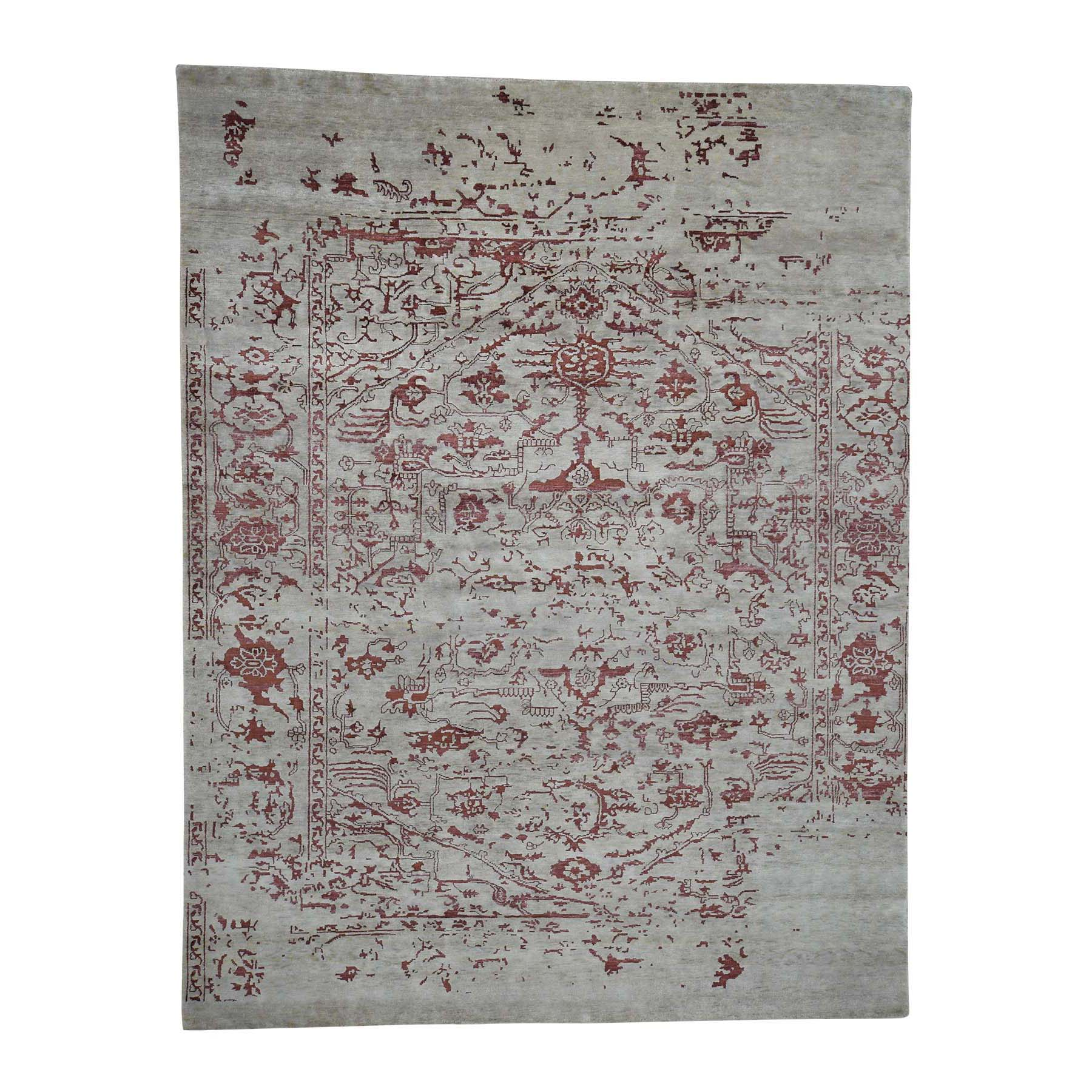 "9'X11'9"" Broken Design Heriz Wool And Silk Oriental Rug Hand Knotted moadaa6b"