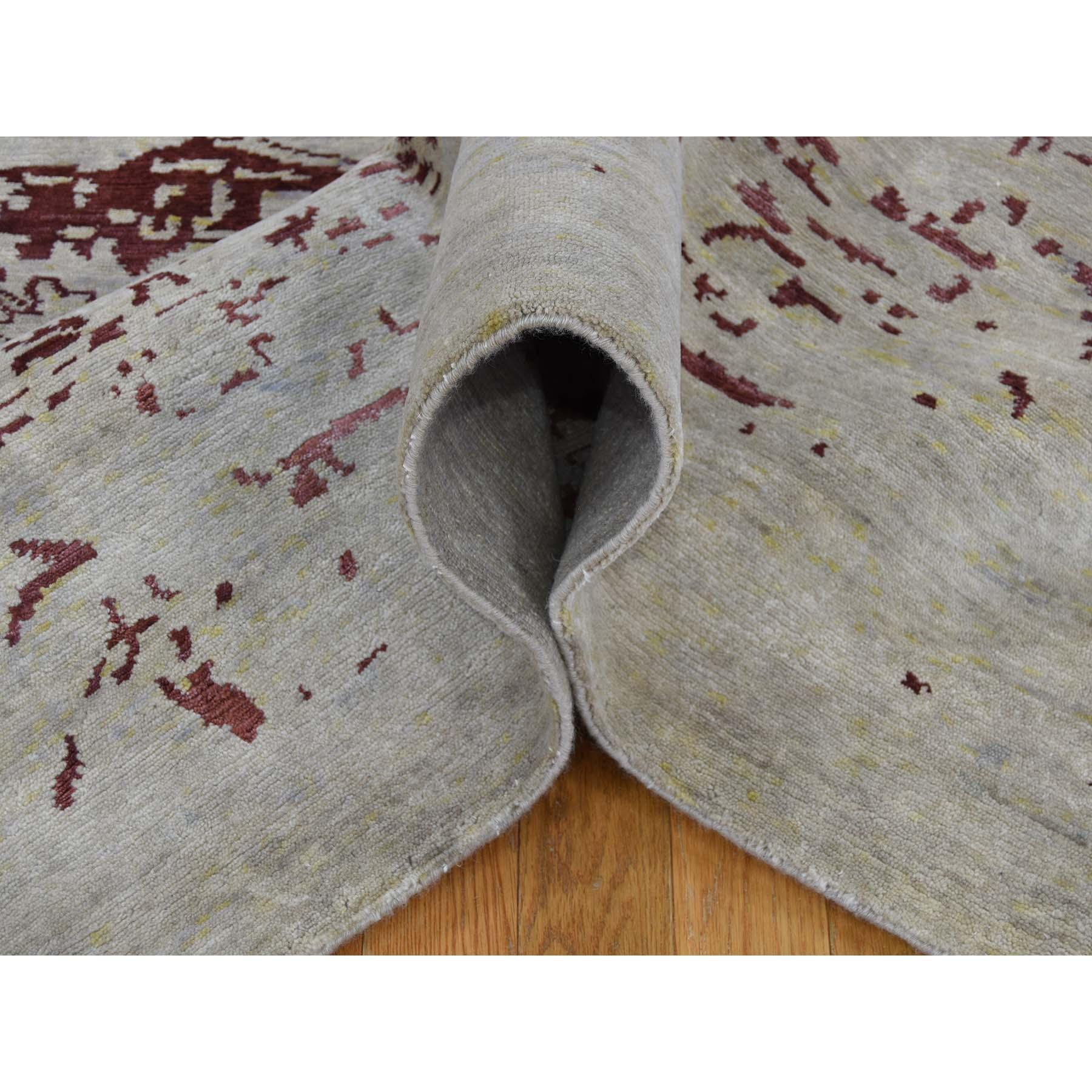 9-x11-9  Broken Design Heriz Wool and Silk Oriental Rug Hand Knotted