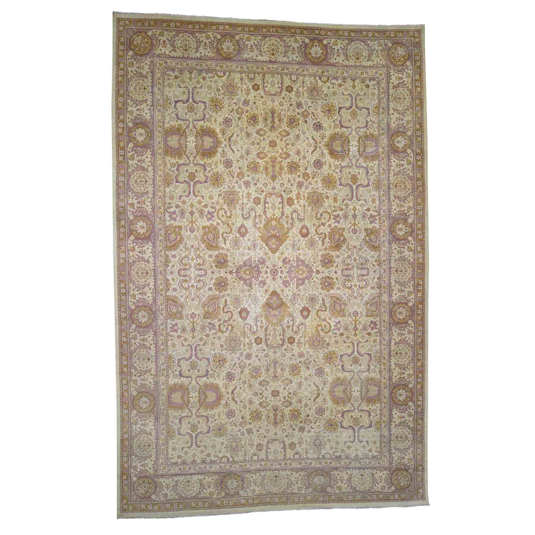 "10'7""x16'4"" Antique Mughal Amritsar Good Condition Even Wear Hand-Knotted Oriental Oversize Rug"
