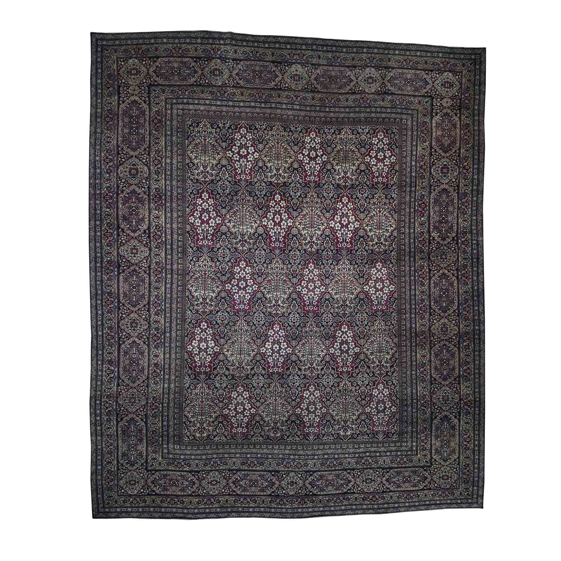 "14'X16'9"" Antique Persian Kerman Shah Good Condition Even Wear Hand-Knotted Oversize Oriental Rug moadaa79"