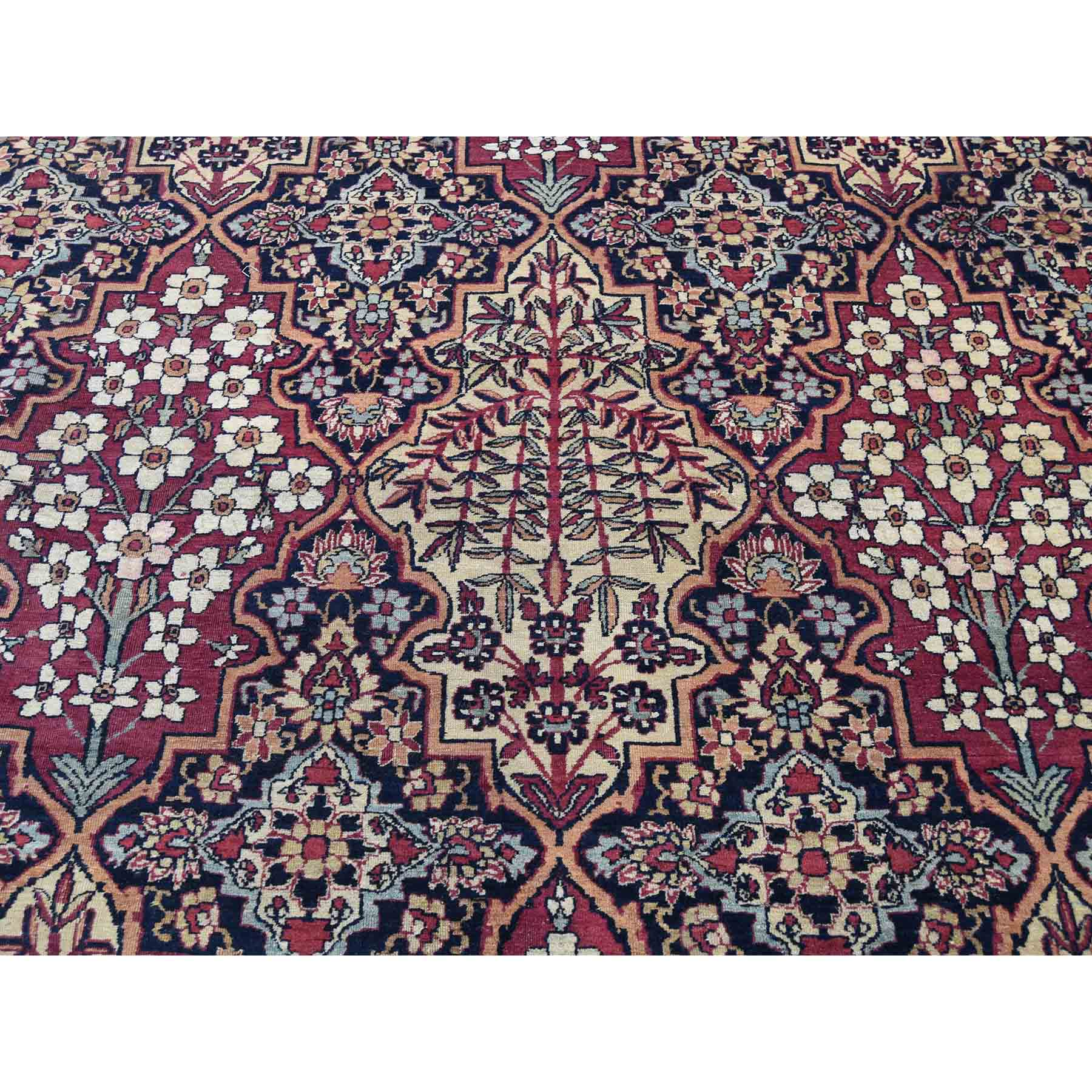 14-x16-9  Antique Persian Kerman Shah Good Condition Even Wear Hand-Knotted Oversize Oriental Rug