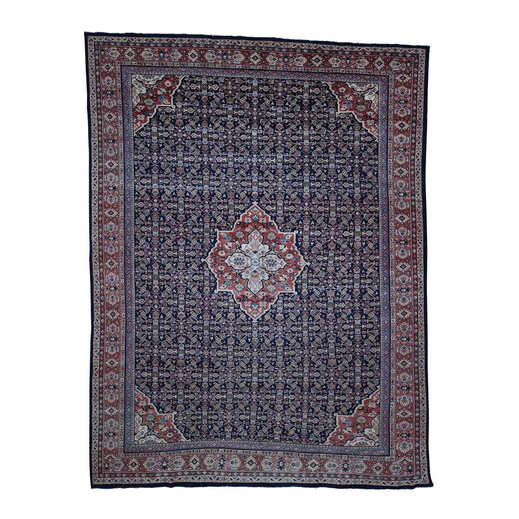 "11'X14'3"" Antique Persian Mahal Even Wear Navy Blue Hand-Knotted Oriental Rug moadaa87"