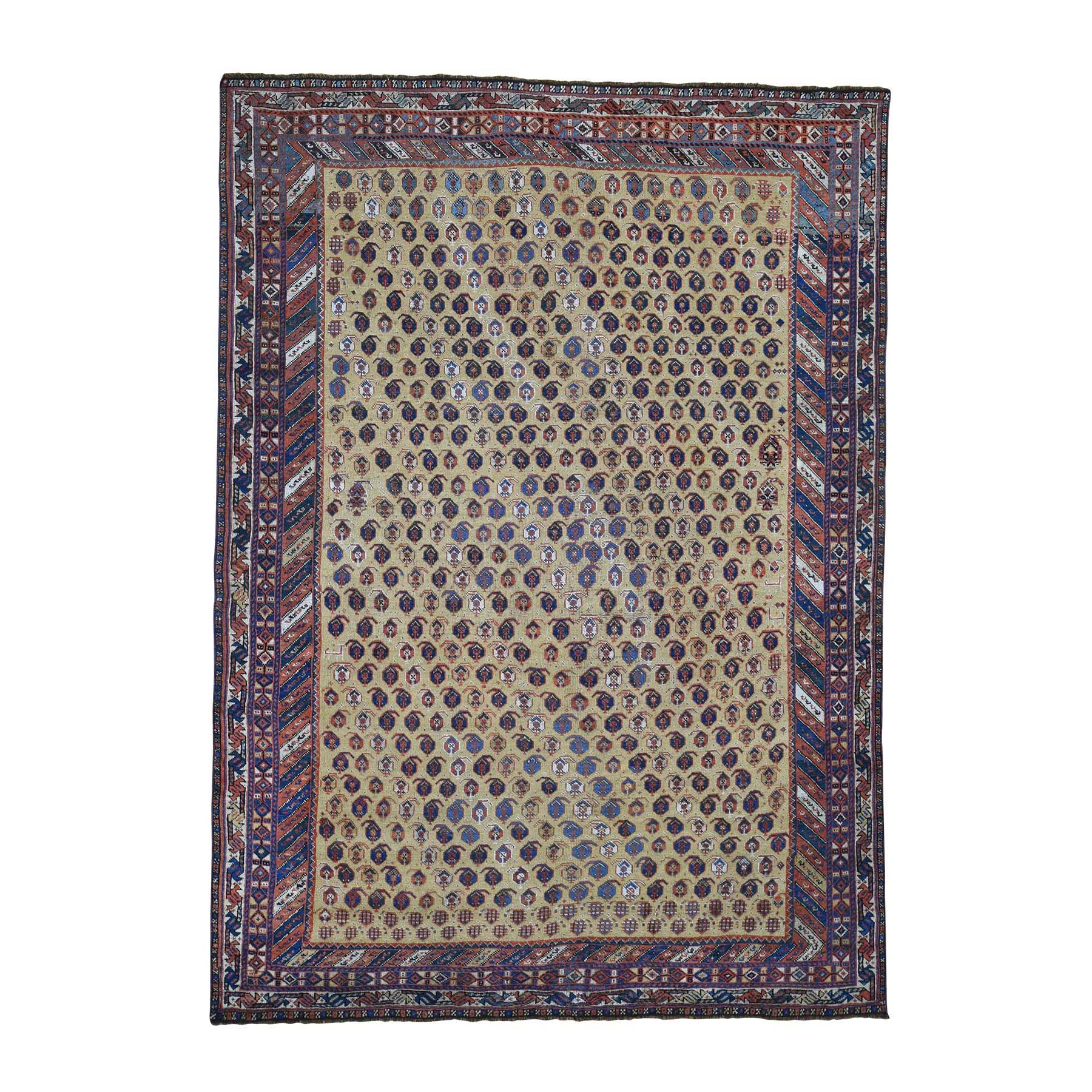 "5'9""X7'10"" Antique Persian Afshar Even Wear Good Condition Hand-Knotted Oriental Rug moadaa9b"