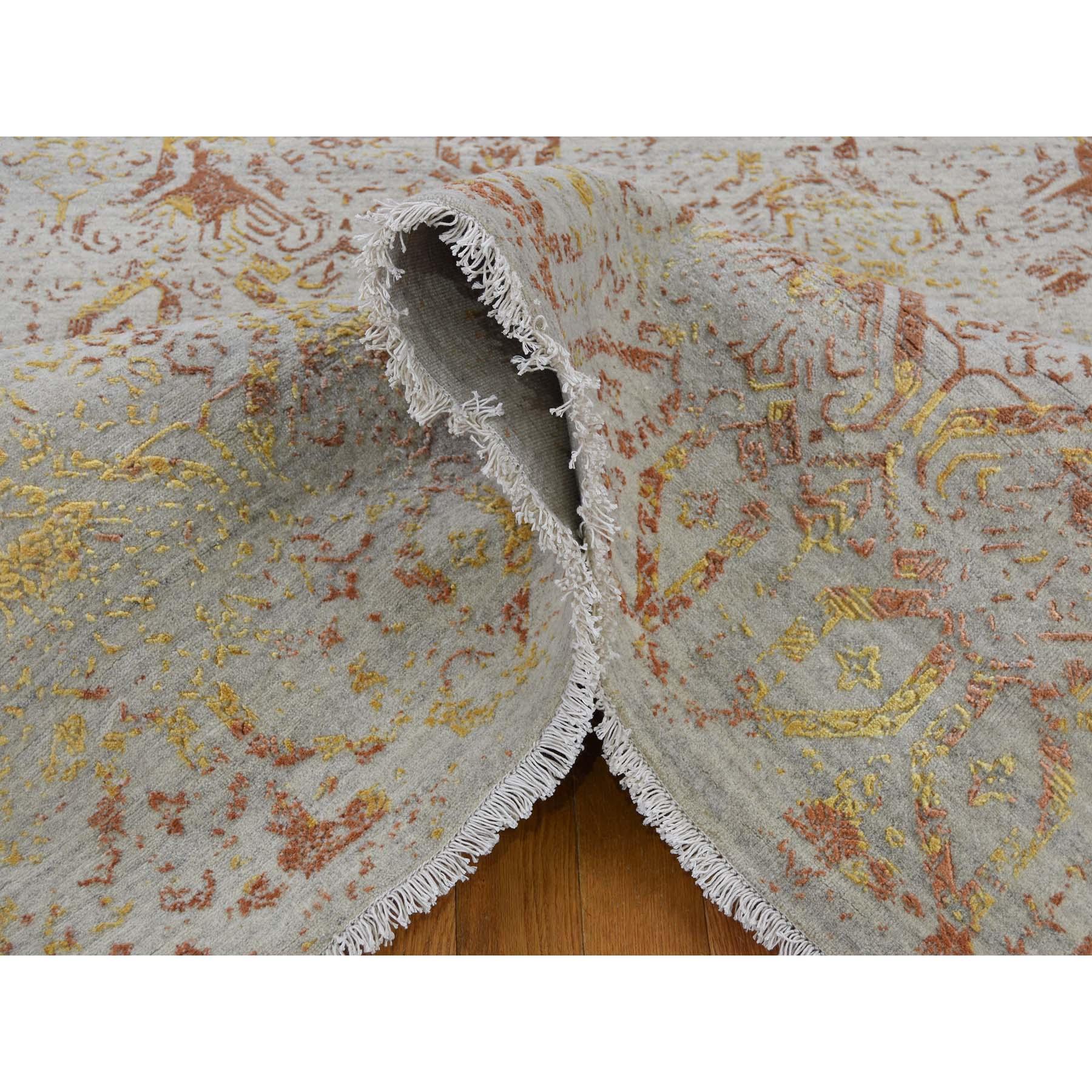 8-2 x10- Wool and Silk Hand Knotted Broken Geometric Design Modern Rug