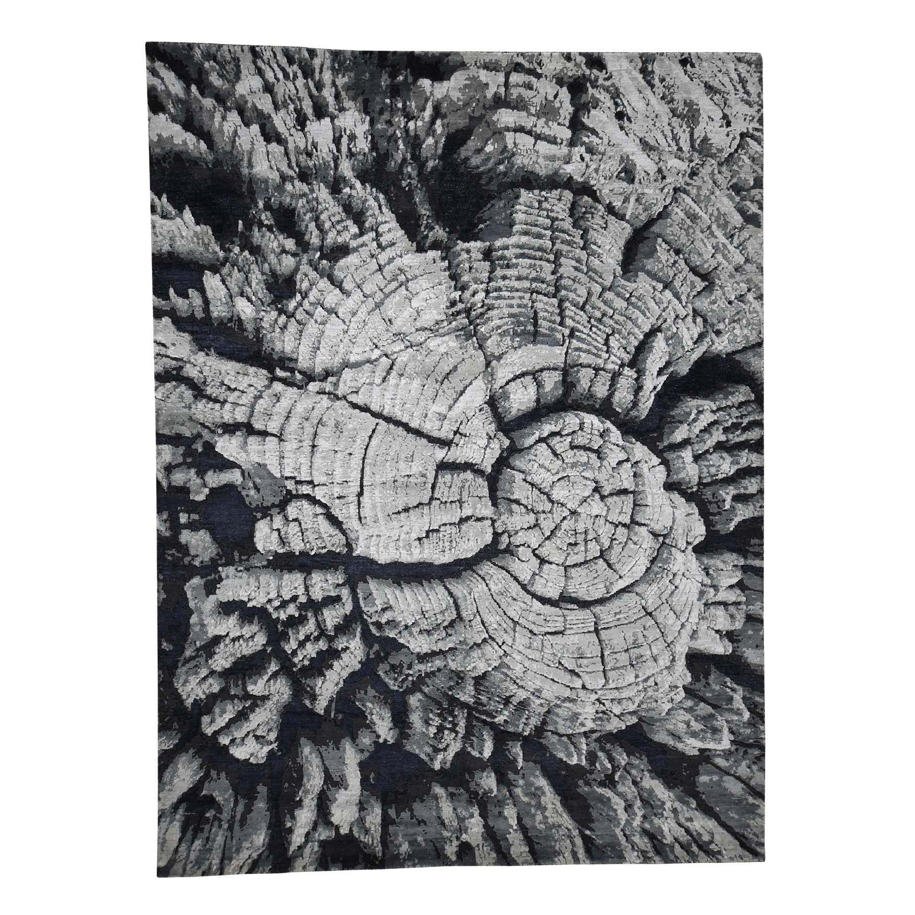 9'x12' Tree Bark Wool And Silk Abstract Design With Black and Grey Hand-Knotted Oriental Rug 41236