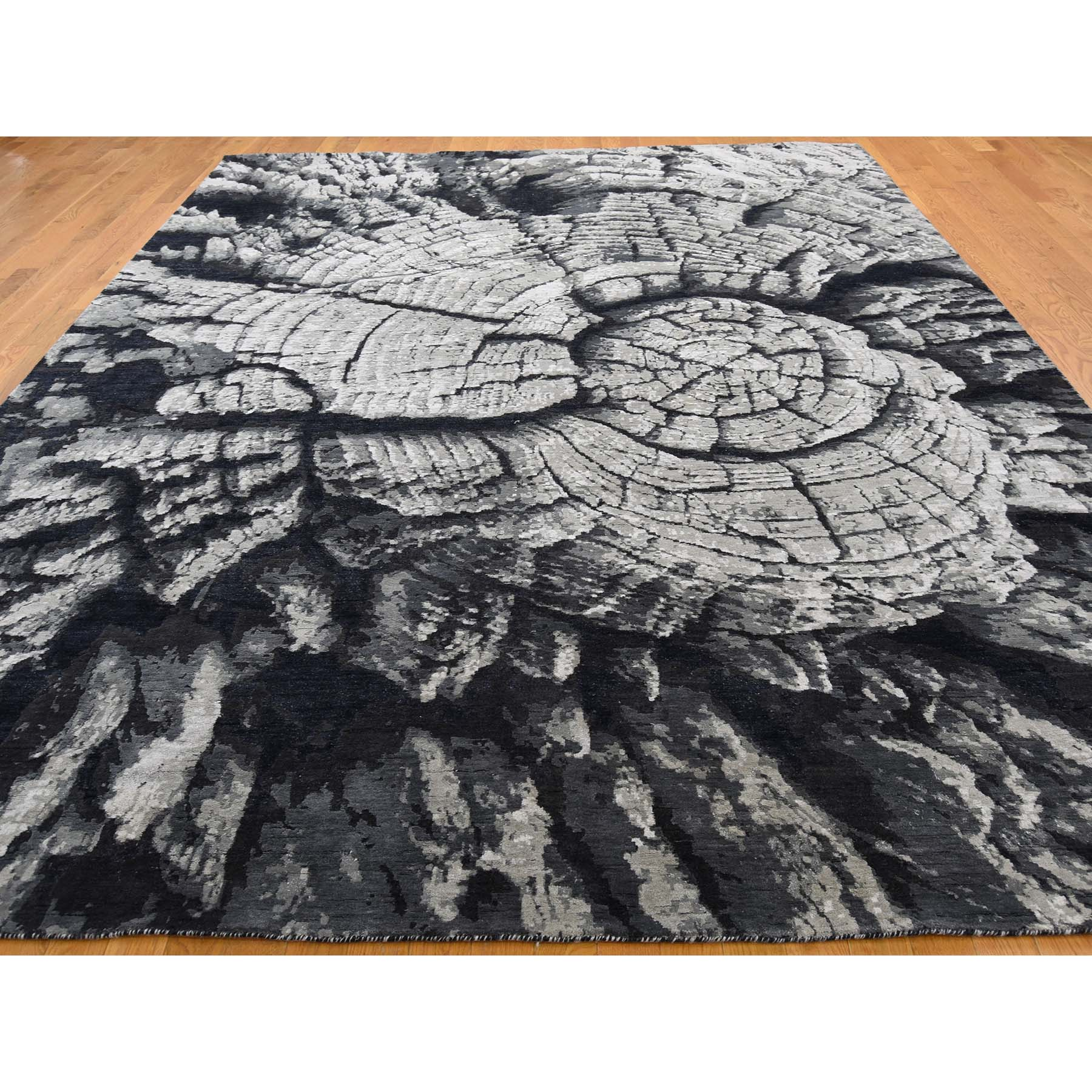 9-x12- Tree Bark Wool And Silk Abstract Design With Black and Grey Hand-Knotted Oriental Rug