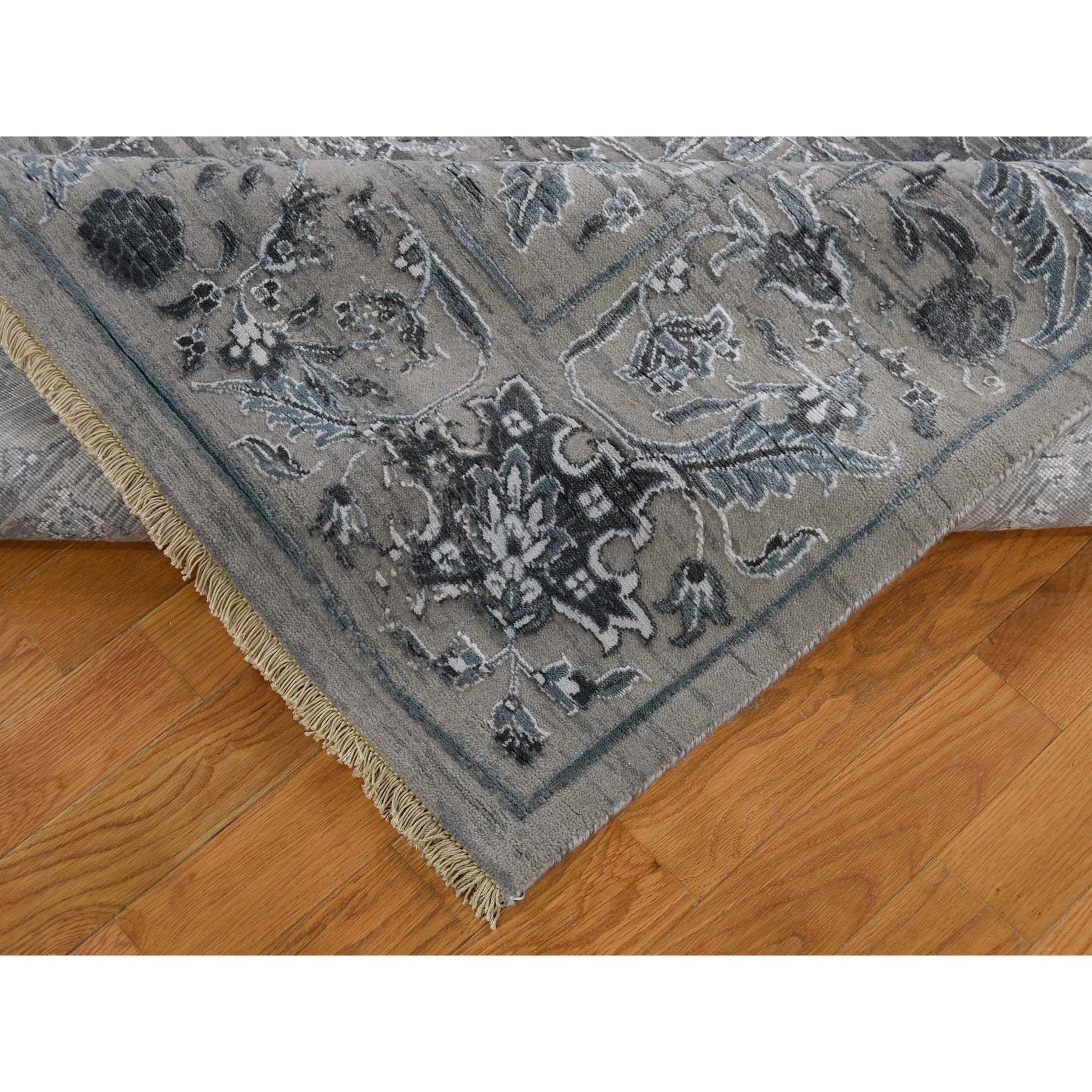 7-9 x10- Grey Traditional Kashan Design with Wool and Silk Hand Knotted Rug