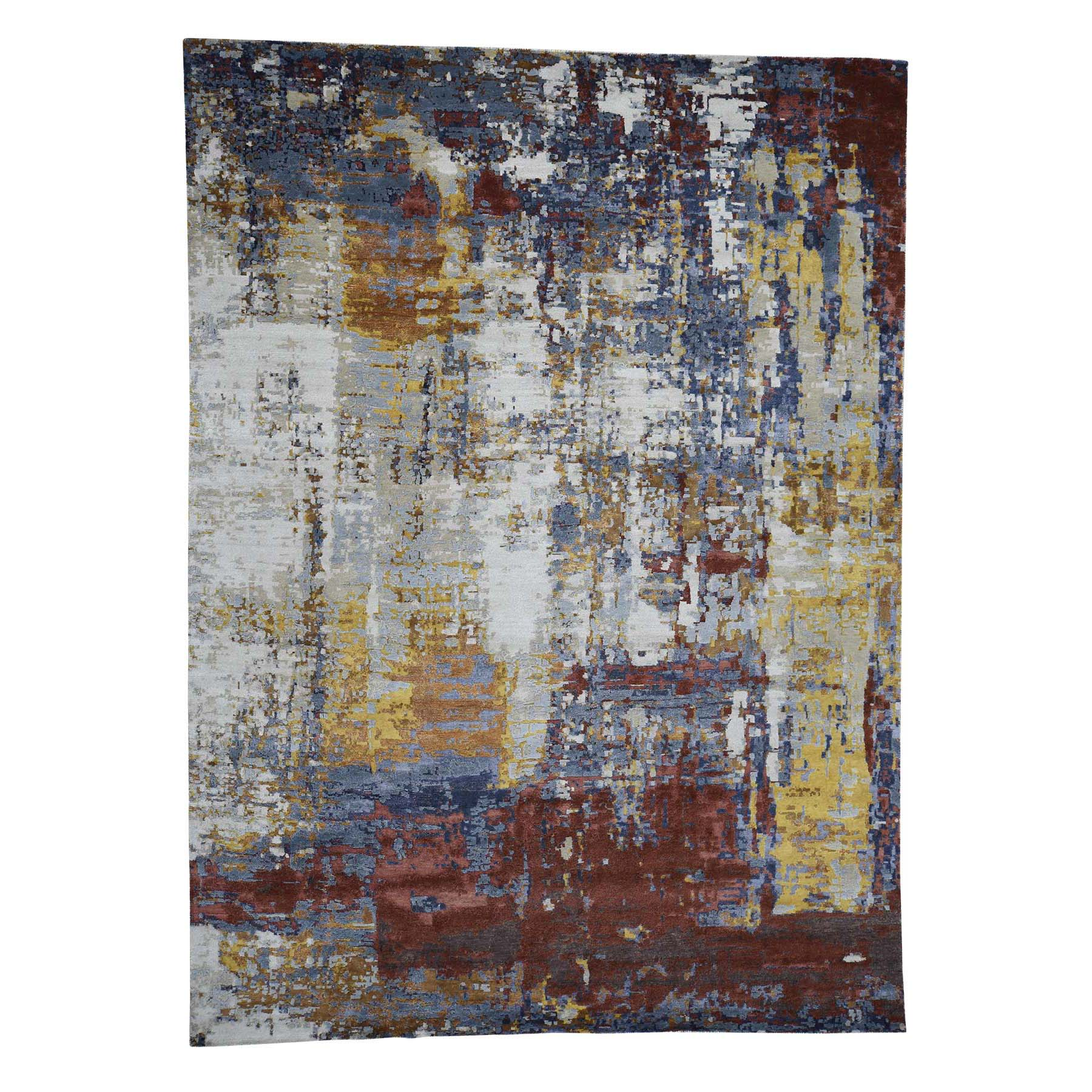 "9'x12'3"" Wool and Silk Modern Abstract Design Hand Knotted Rug"
