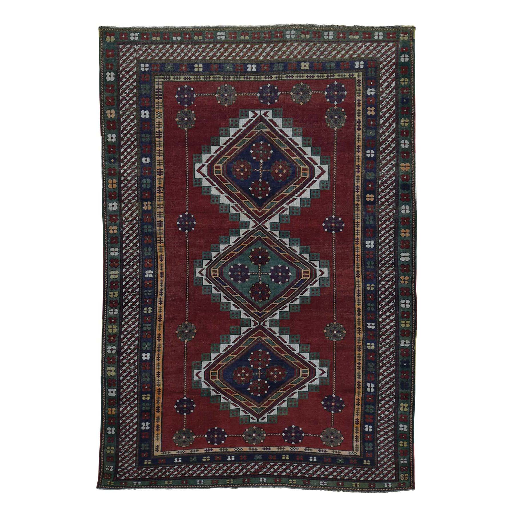 "5'9""X8'5"" Antique Caucasian Kazak Good Condition Hand Knotted Rug moadabd7"