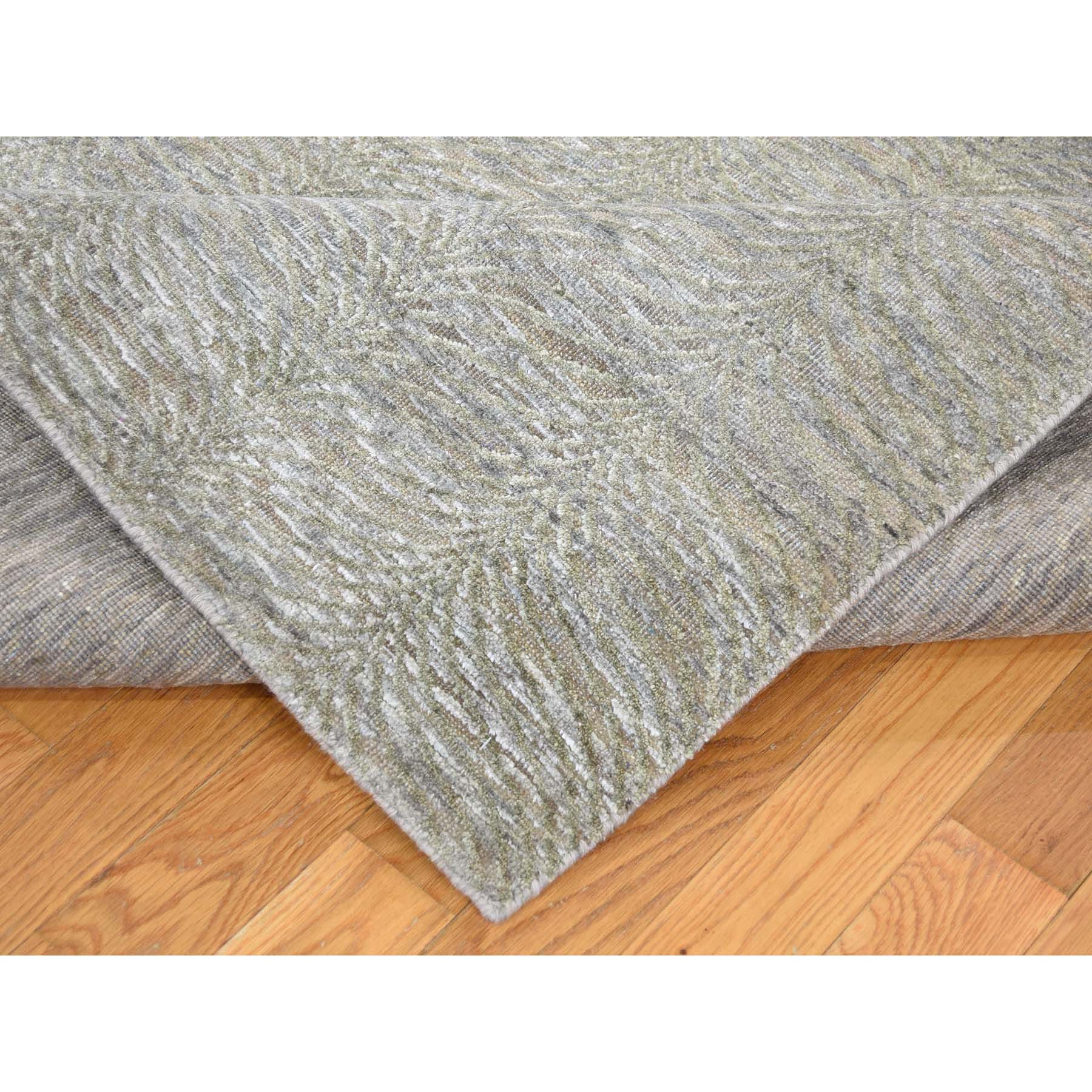 9-10 x13-10  Real Silk with Oxidized Wool Tone on Tone Hand-Knotted Oriental Rug