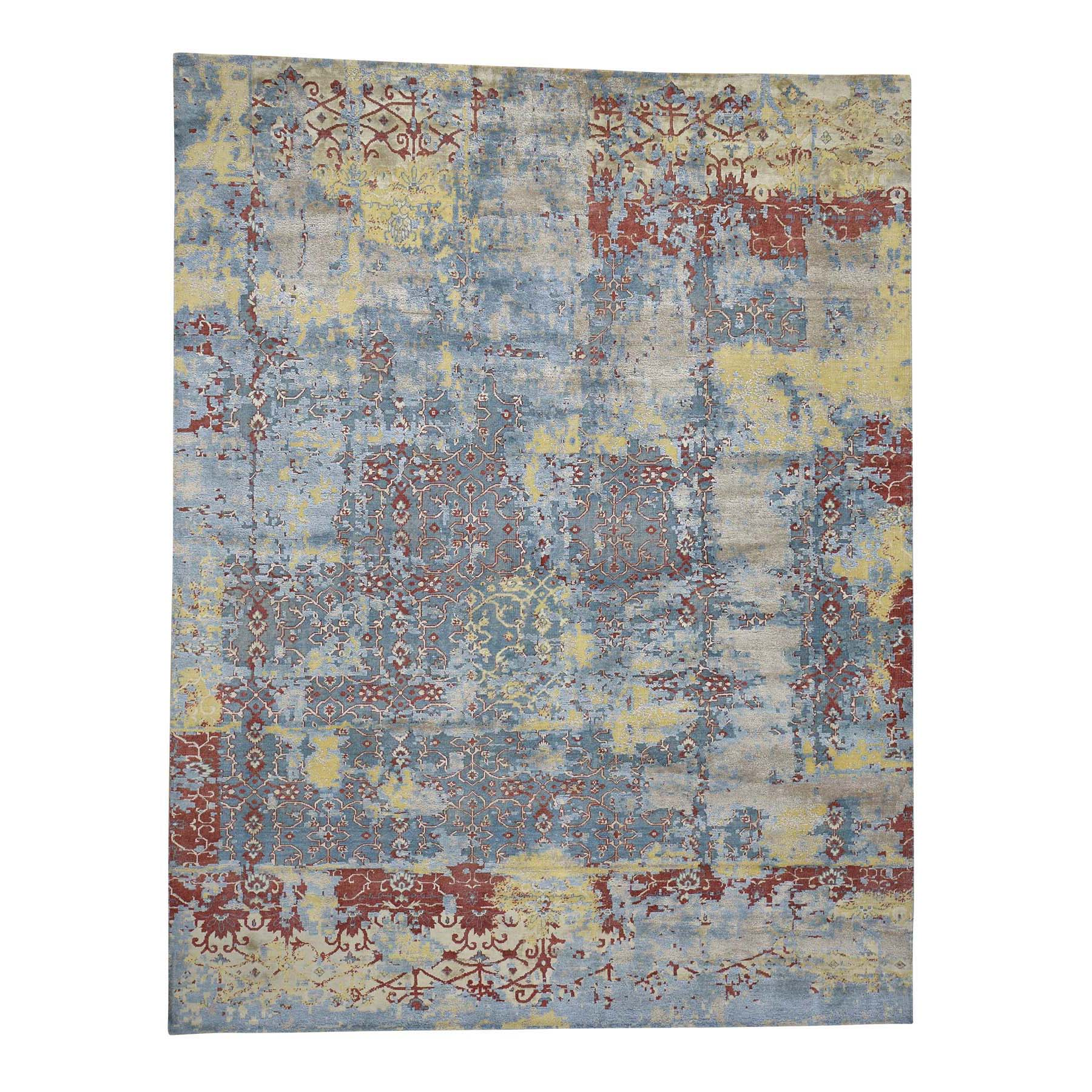 "7'8""X9'10"" Hand-Knotted Silk With Oxidized Wool Broken Design Rug moadab99"