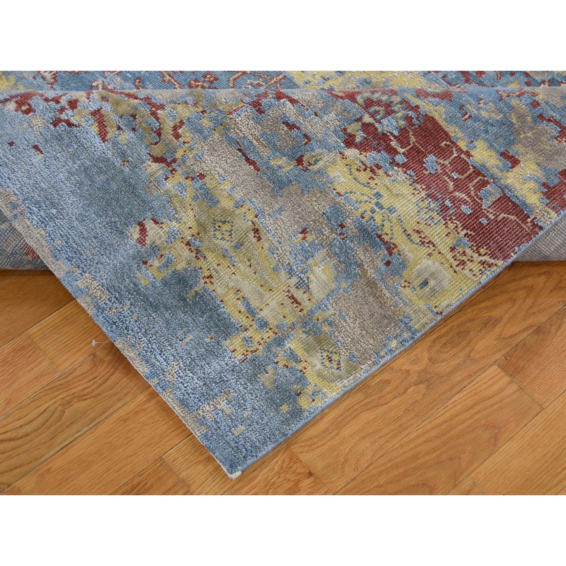 7-8 x9-10  Hand-Knotted Silk With Oxidized Wool Broken Design Rug